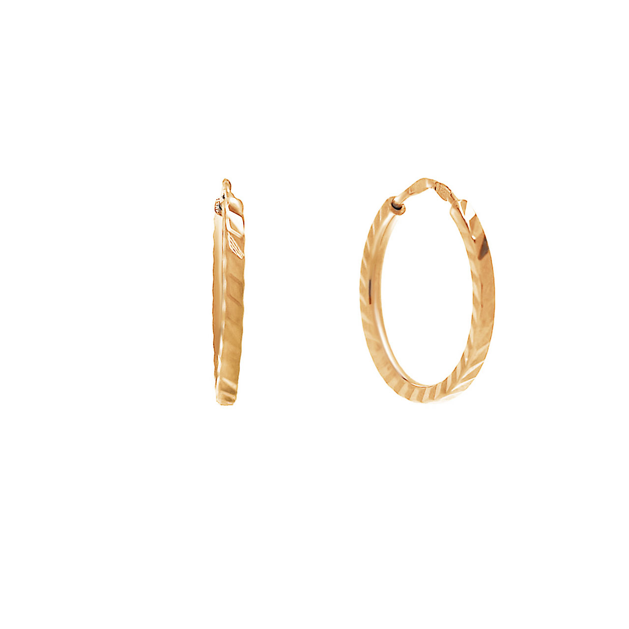 Kids Diamond Cut Hoop Earrings