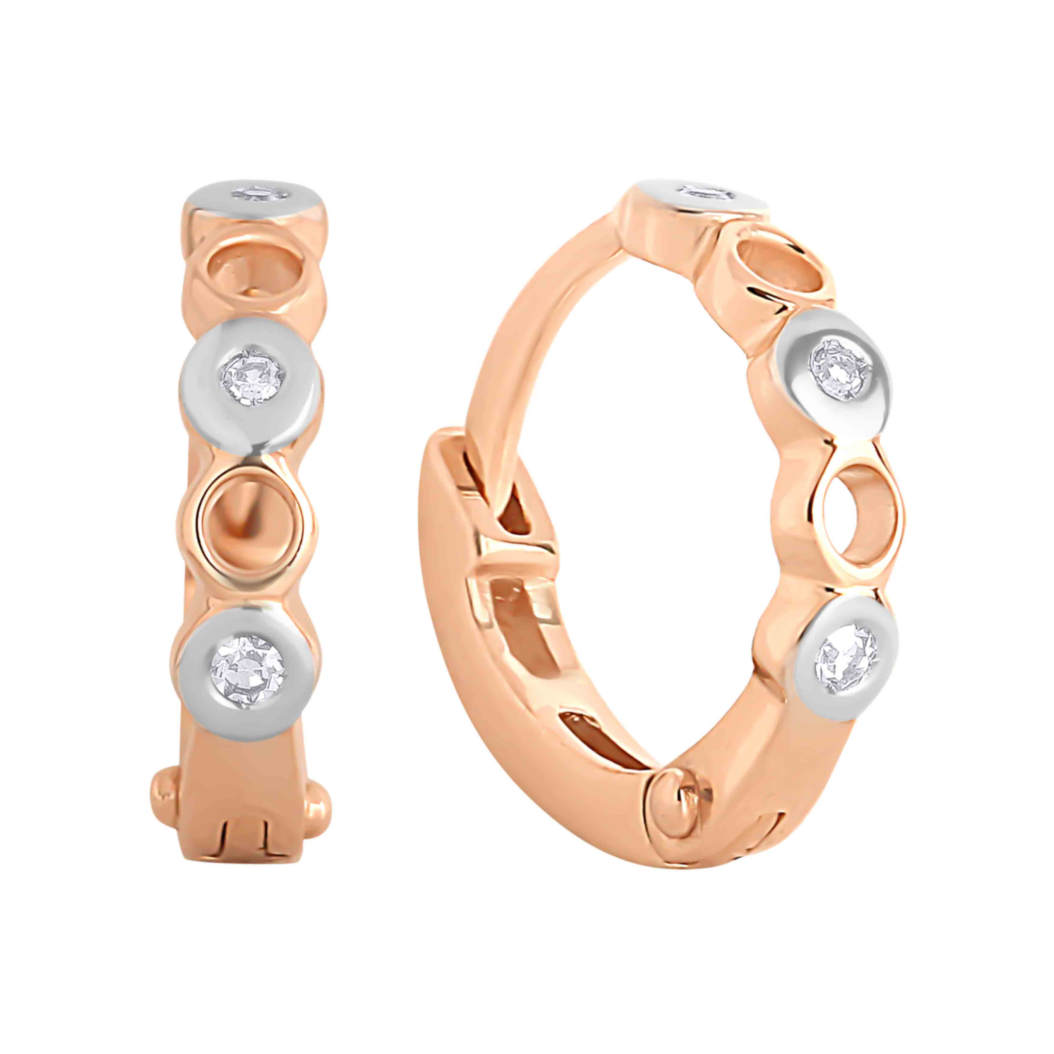 Bezel-set Diamond Huggie Earrings for Babies