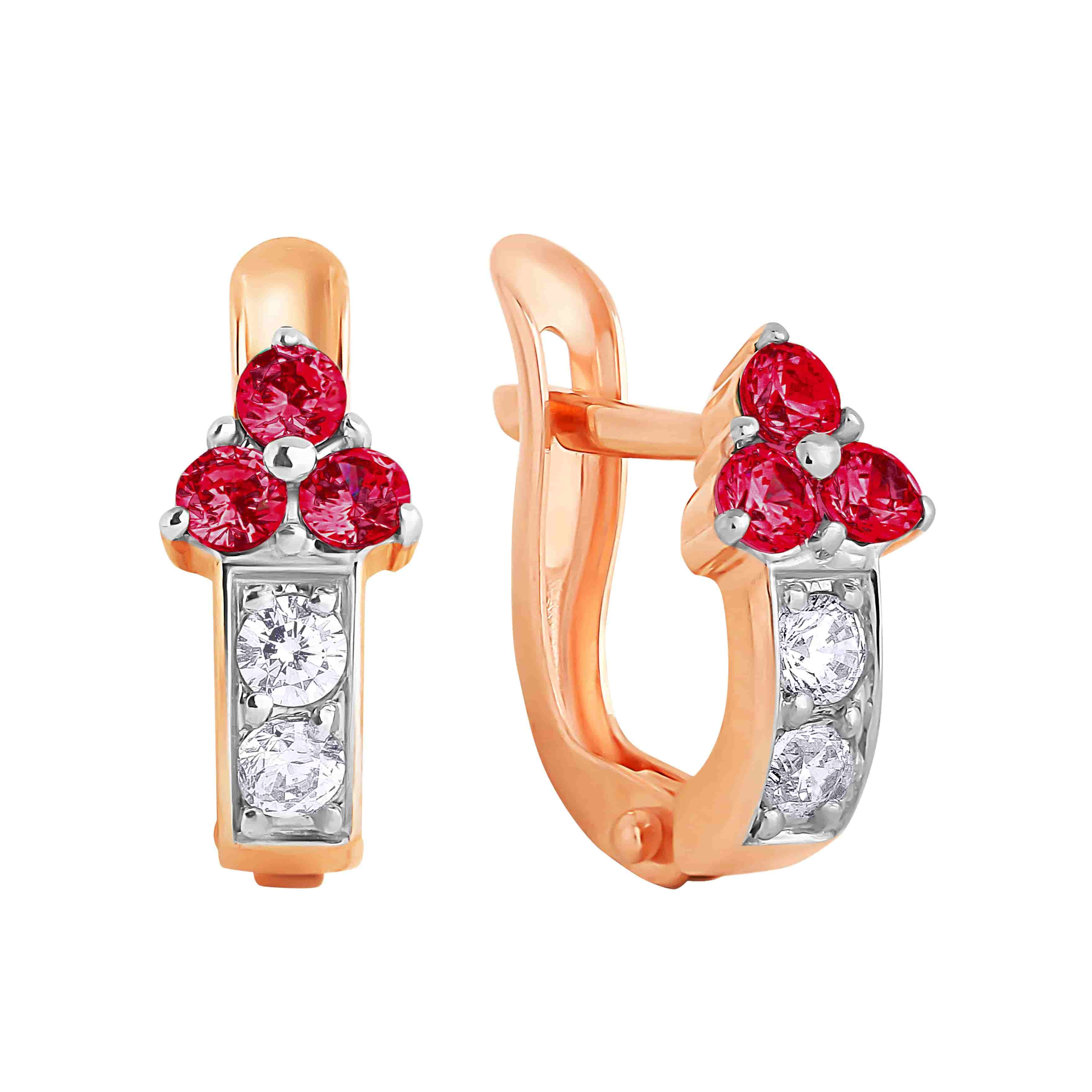 Ruby-like CZ Arrow-shaped Kids Earrings