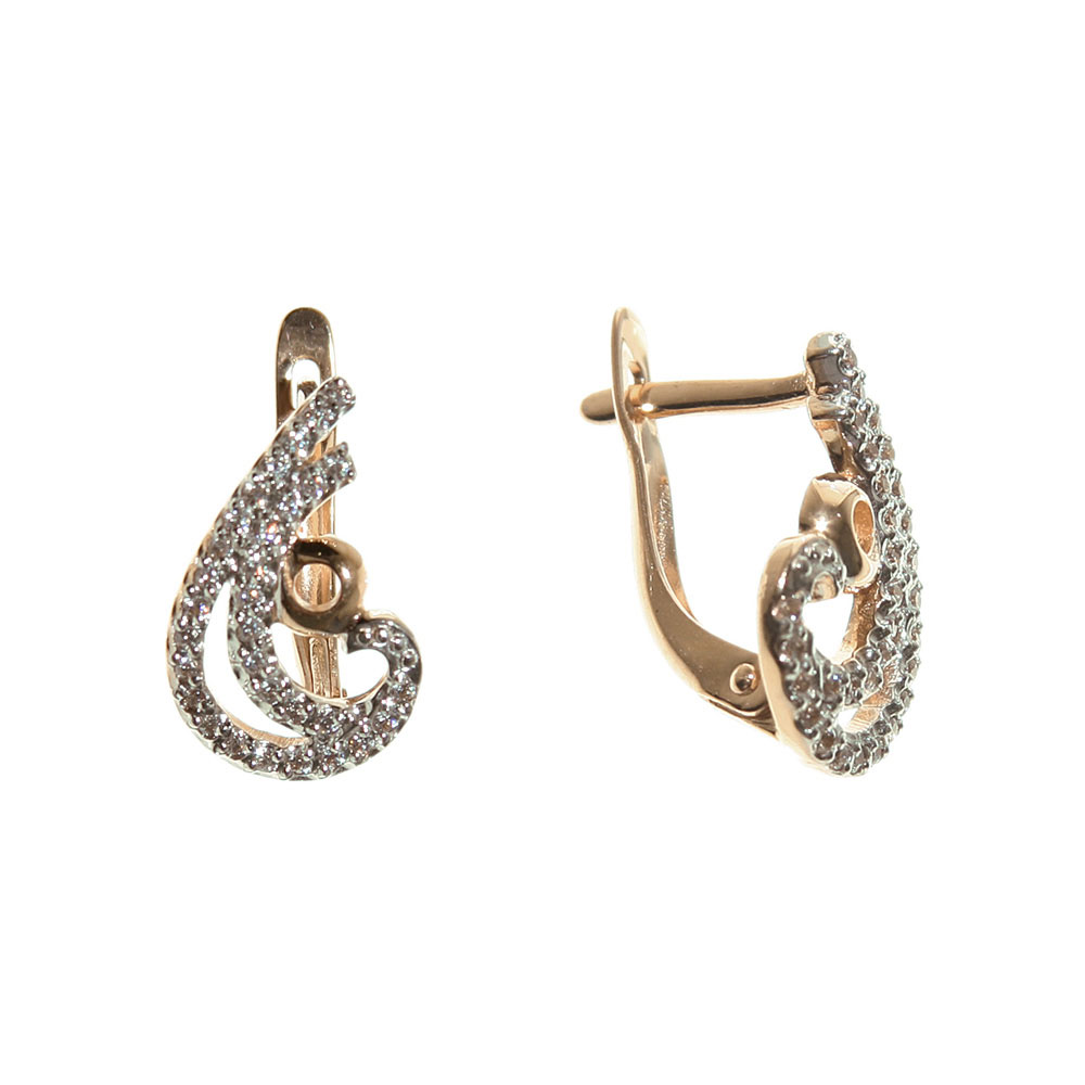 Paisley CZ gold earrings 1