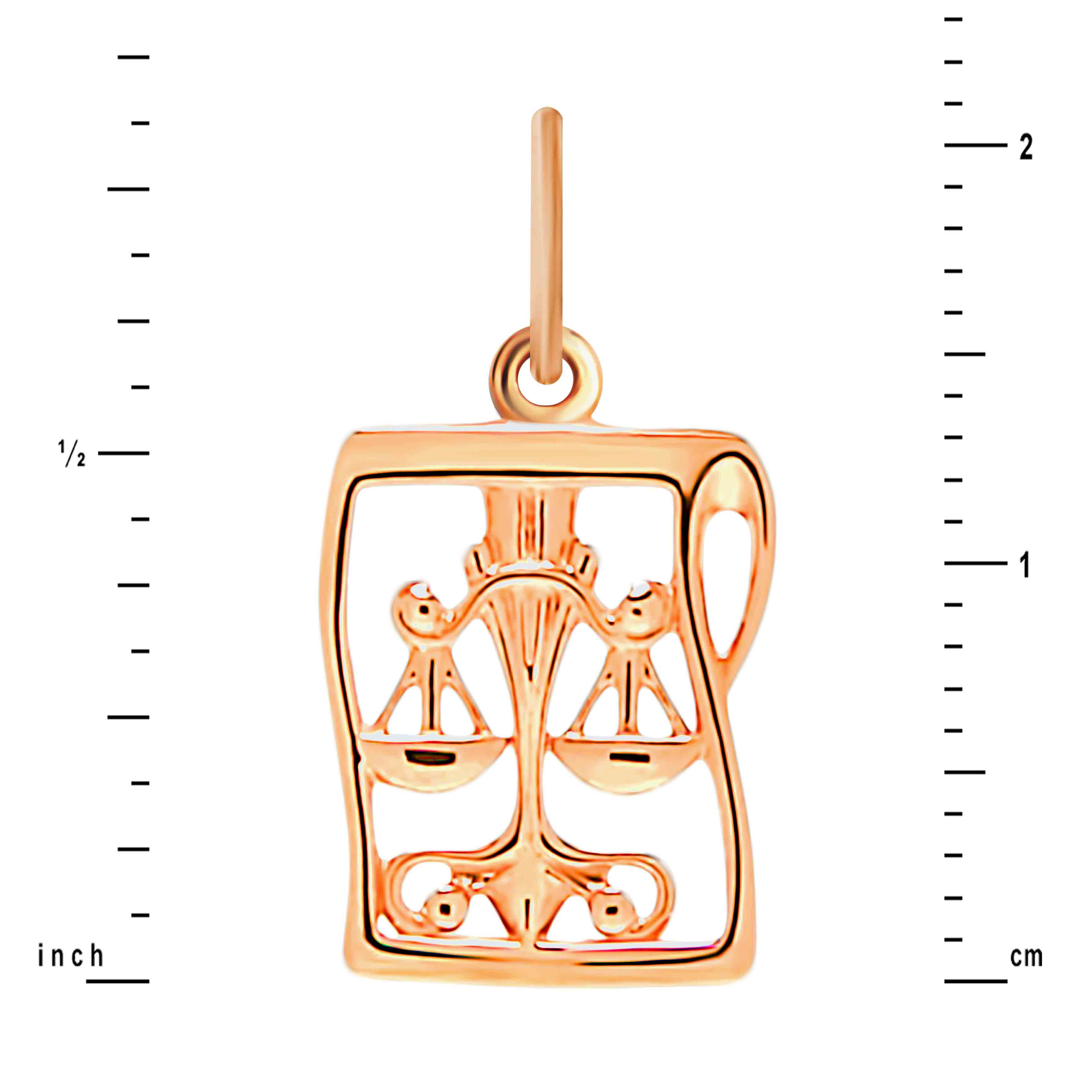 Manuscript-inspired Gold Pendant 'Libra'