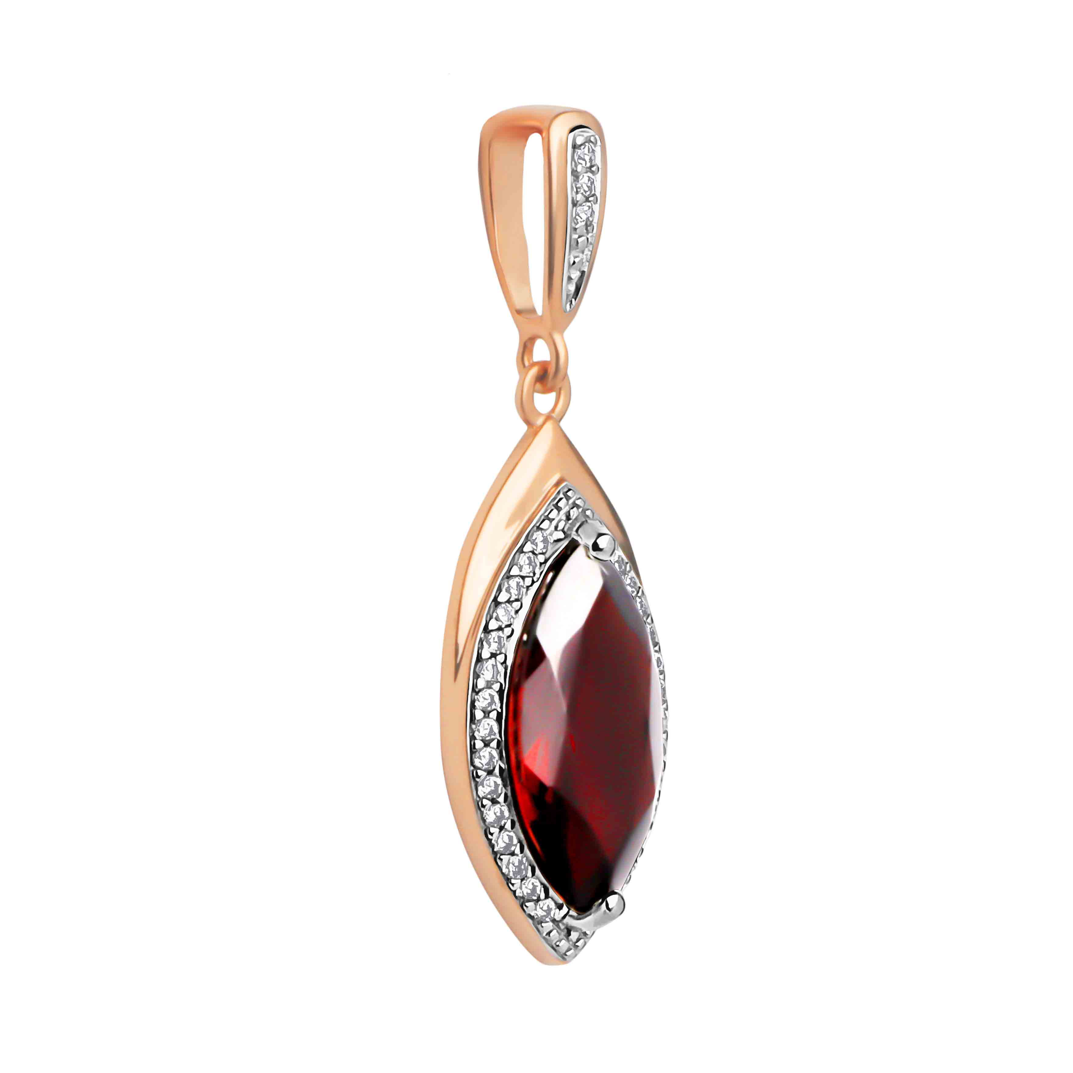 Marquise-shaped Garnet Pendant. 'Empress' Series, 585 Rose Gold. View 2
