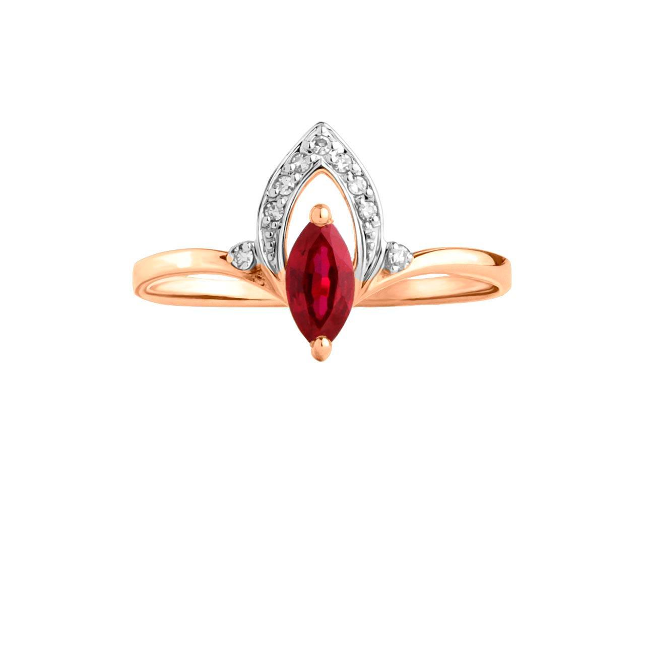 Marquise ruby rose gold ring 2