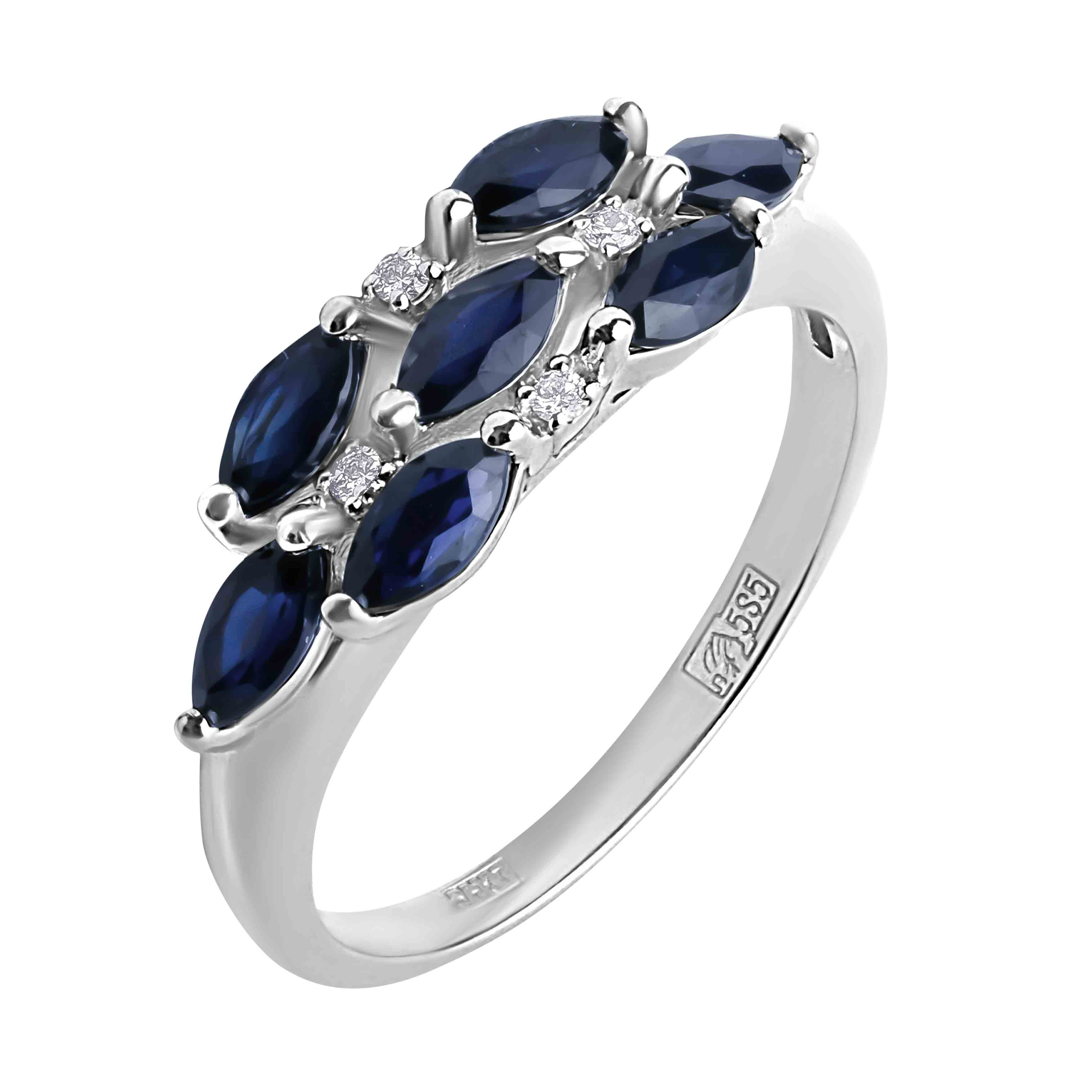 Sapphire and Diamond Subtle Ring