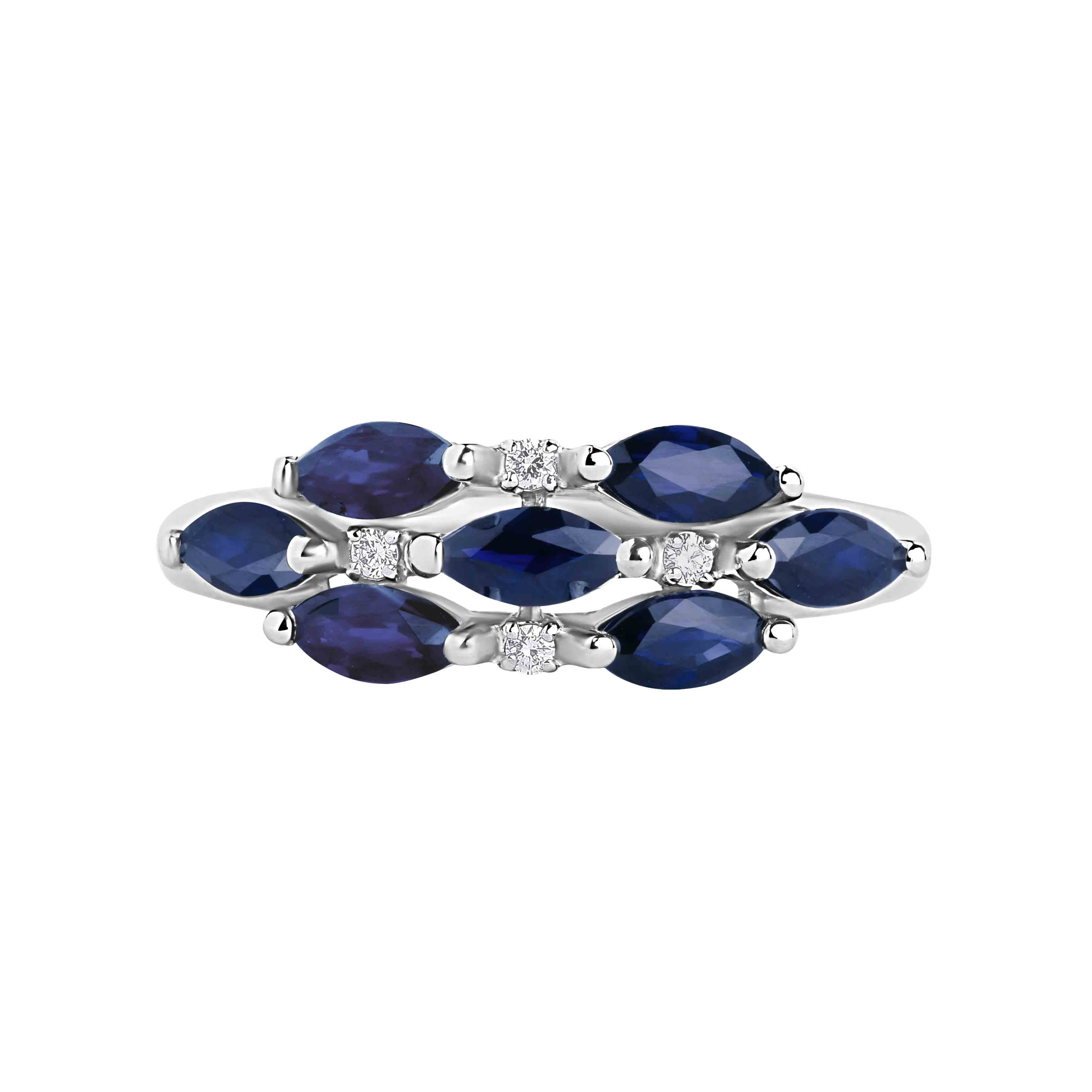 7 marquise sapphires  Russian ring. View 2.