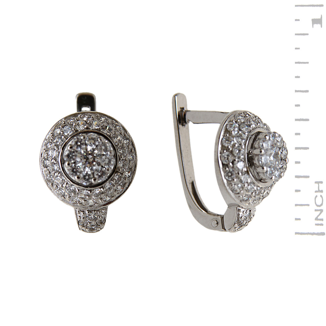 Solitataires leverback white gold earrings 1