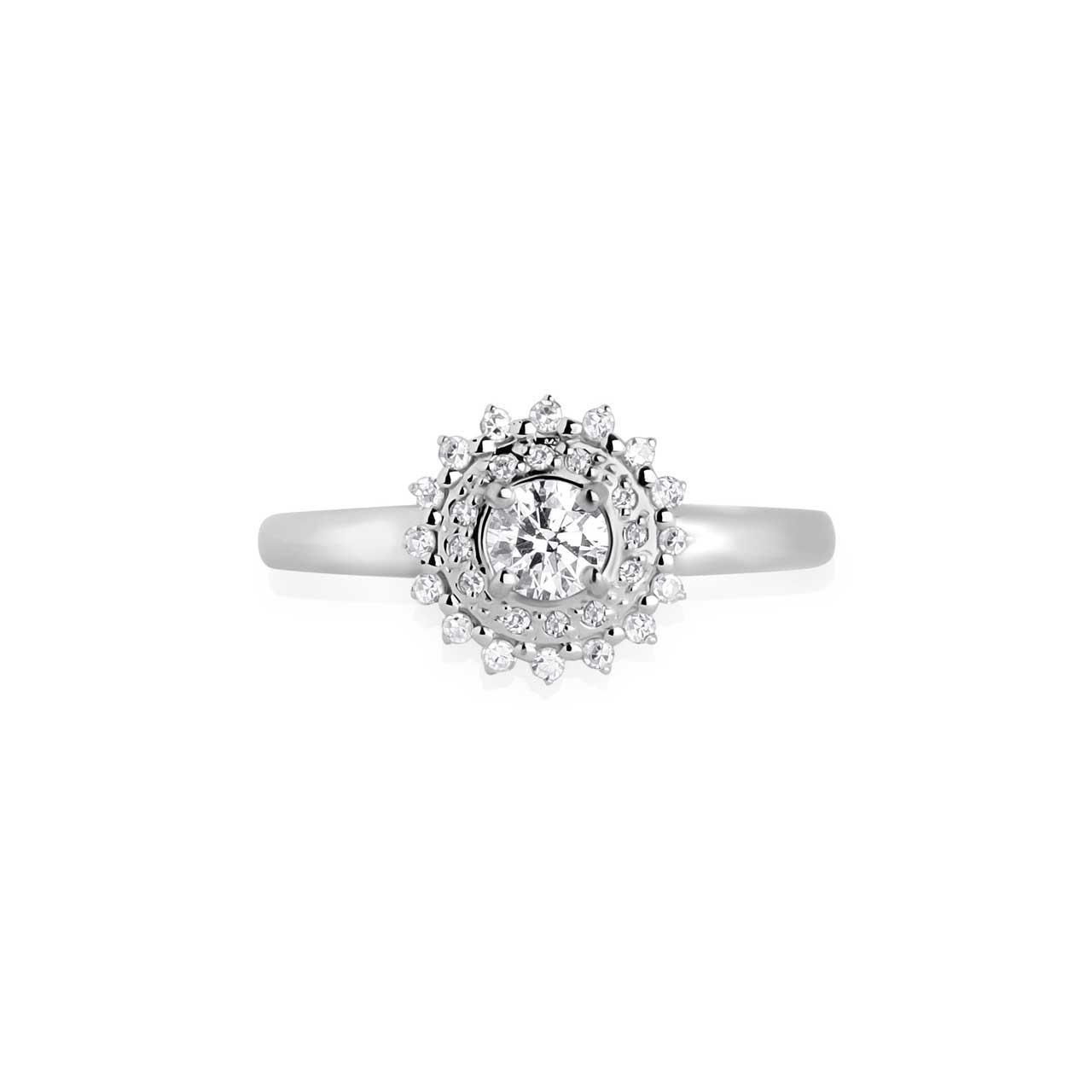 Hypoallergenic nickel-free 14K white gold diamond double halo ring. View 2