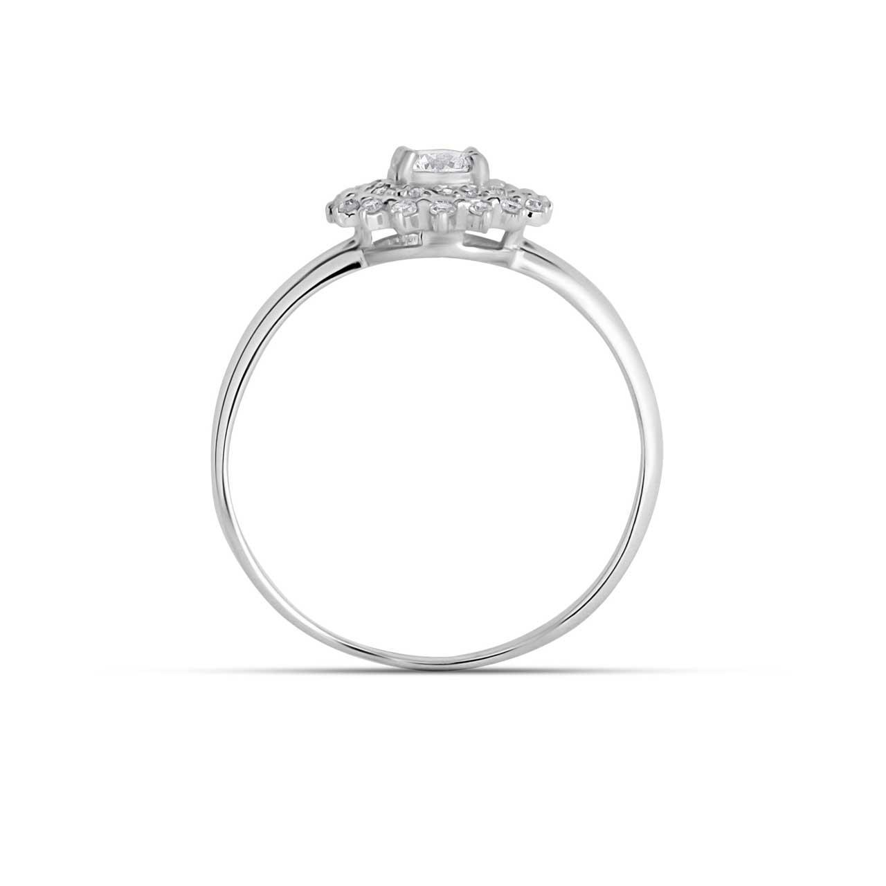 Hypoallergenic nickel-free 14K white gold diamond double halo ring. View 3