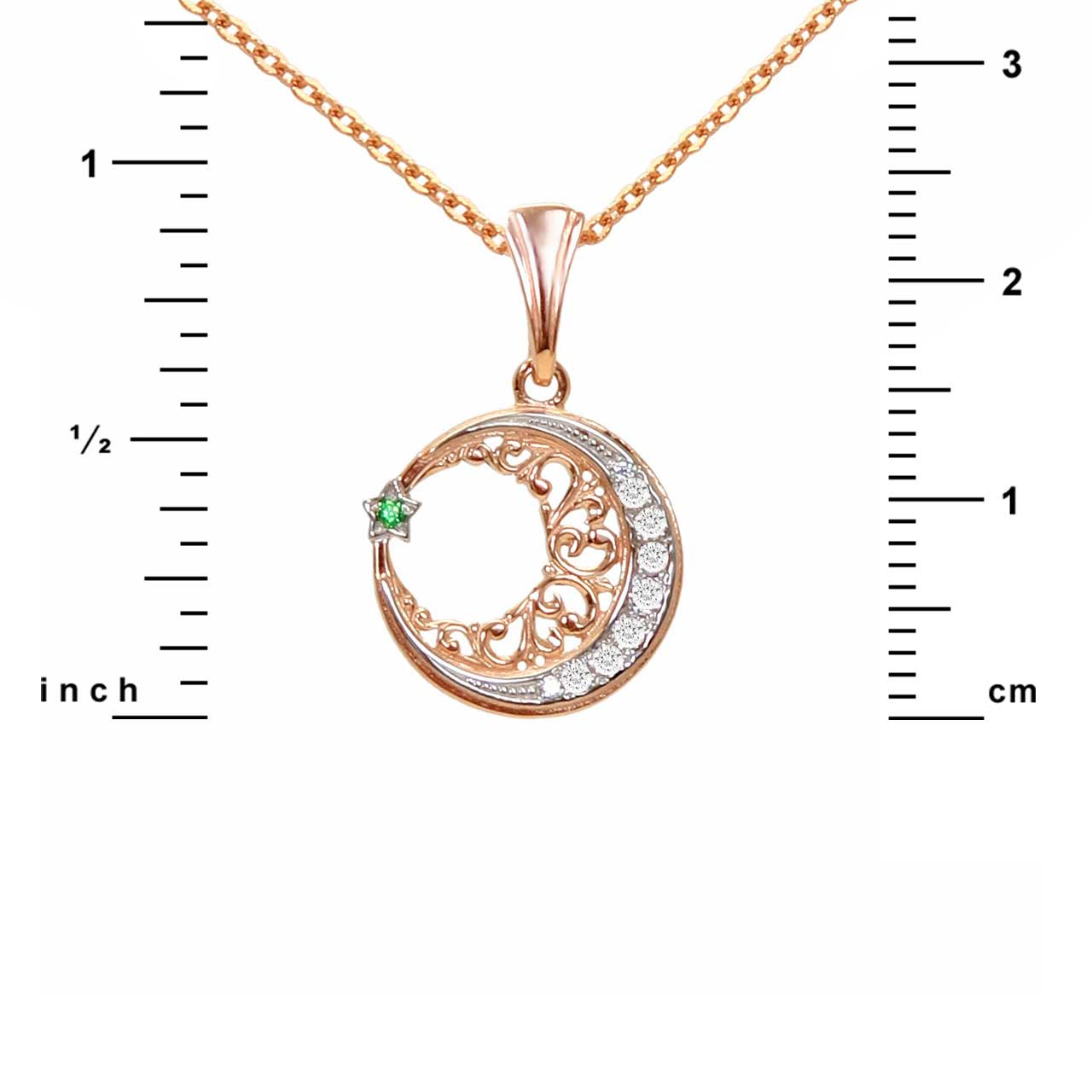 Jewish muslim catholic pendants moon star pendant golden flamingo star and crescent filigree gold pendant aloadofball Image collections