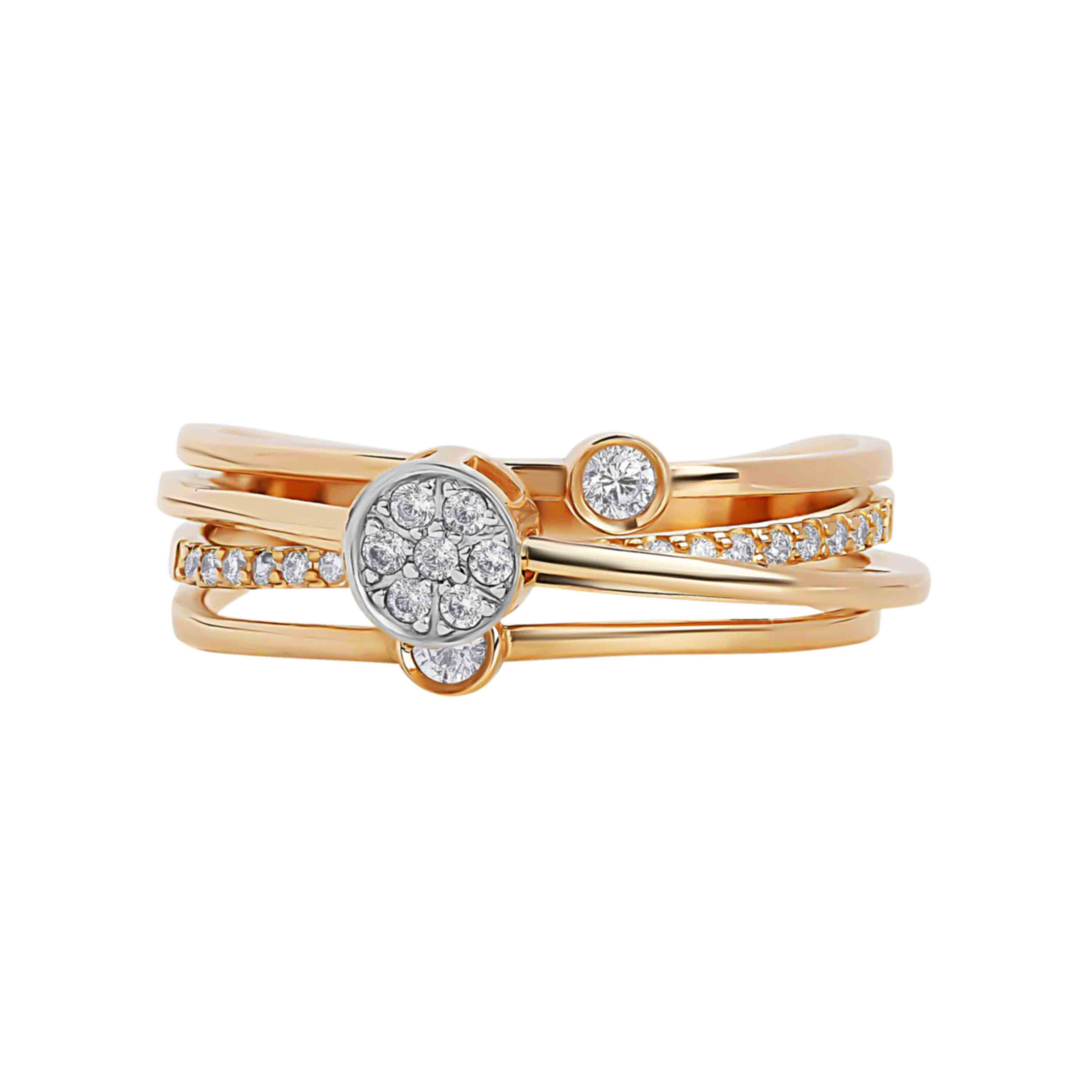 Movable CZ Rose Gold Ring. View 2