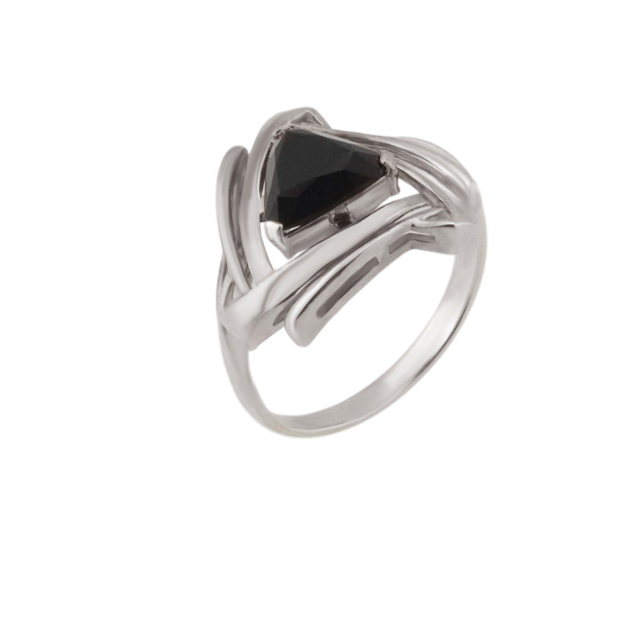Triangular Black Onyx Silver Ring