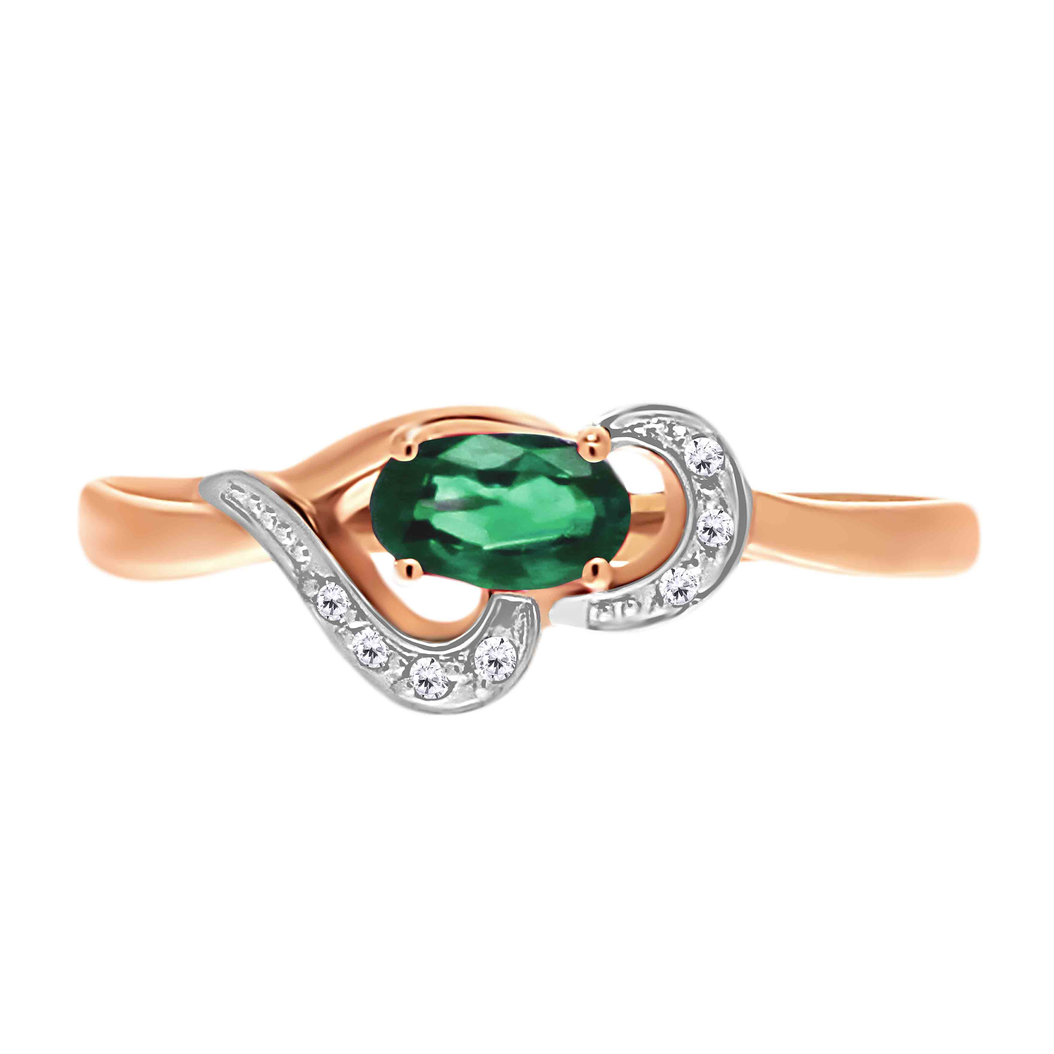 Oval Emerald and Diamond Ring. View 2
