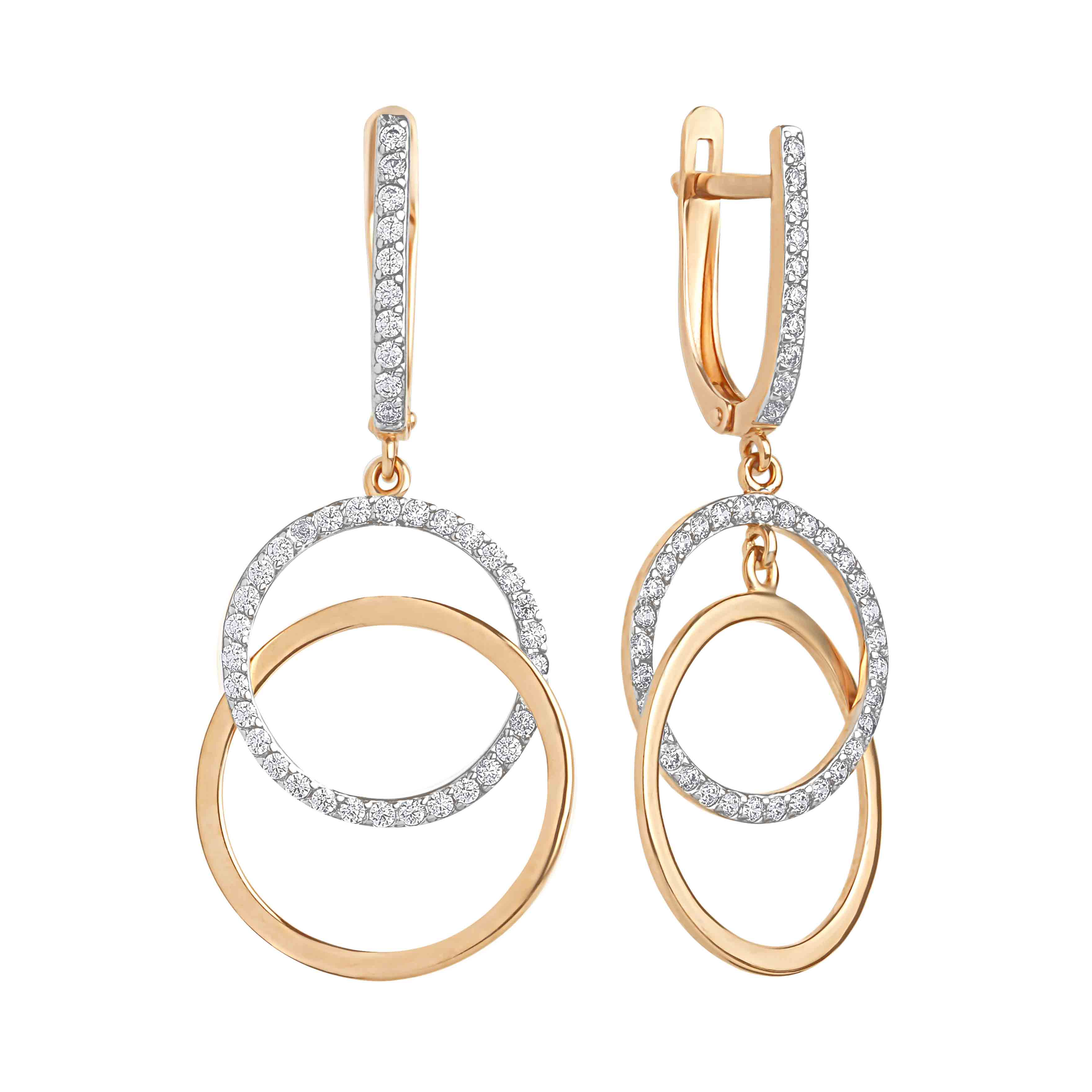 Double Circles Dangle Earrings with CZ
