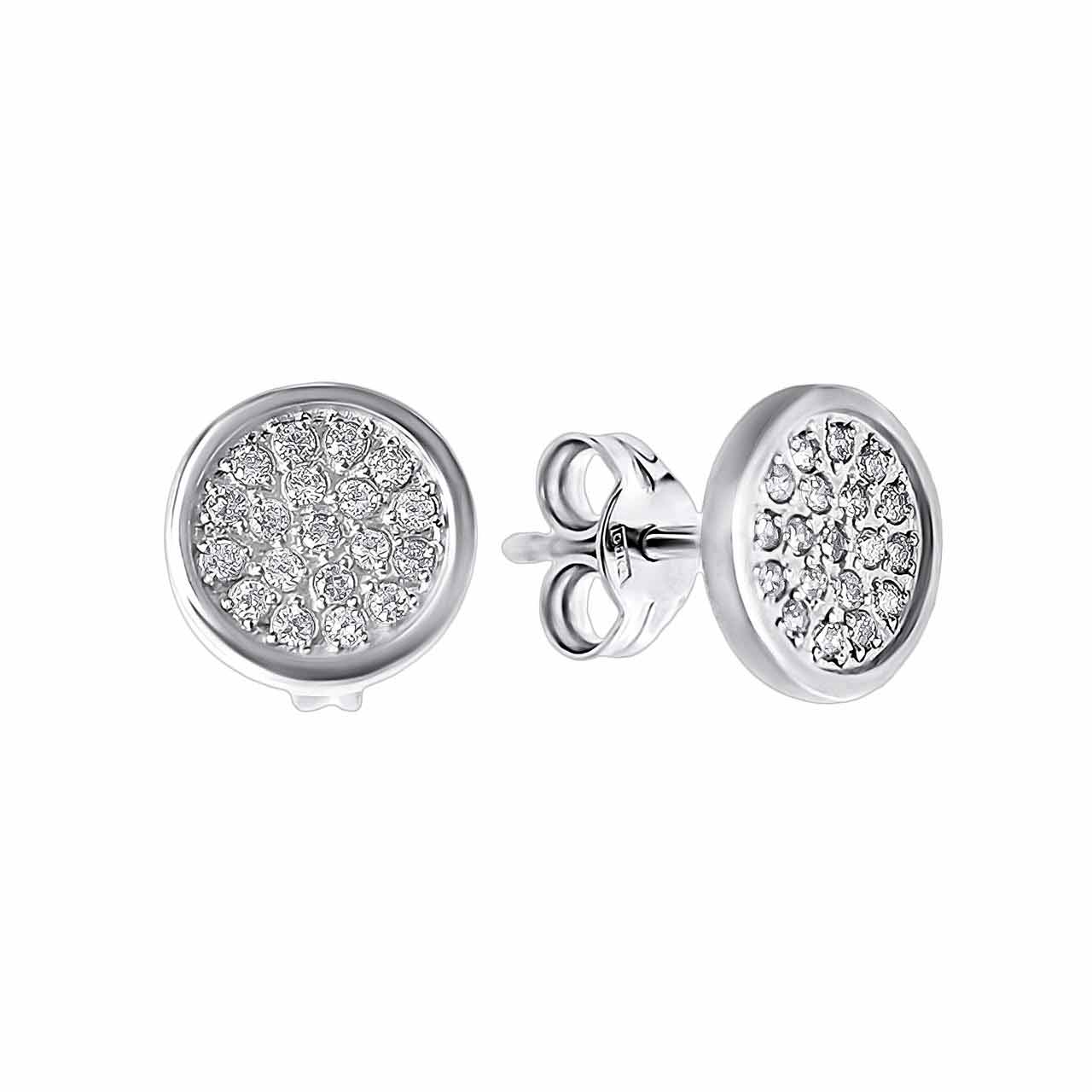 Pave CZ Circle White Gold Stud Earrings