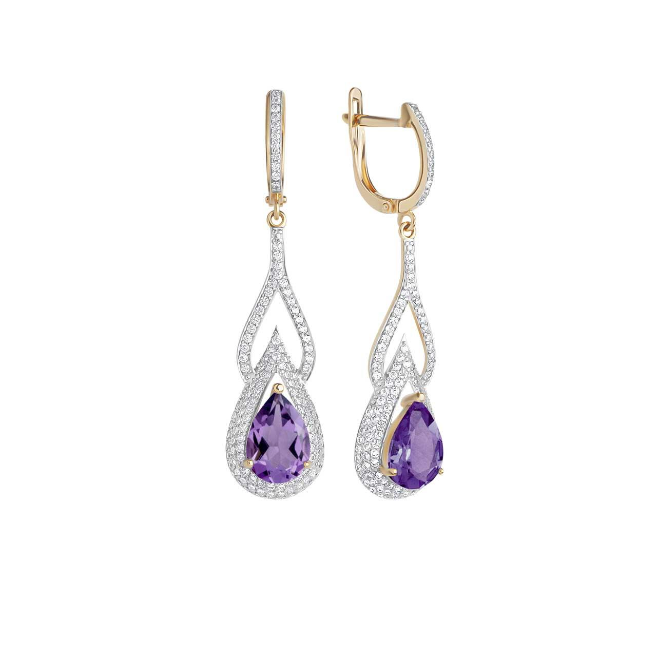 Teardrop Amethyst and CZ Earrings