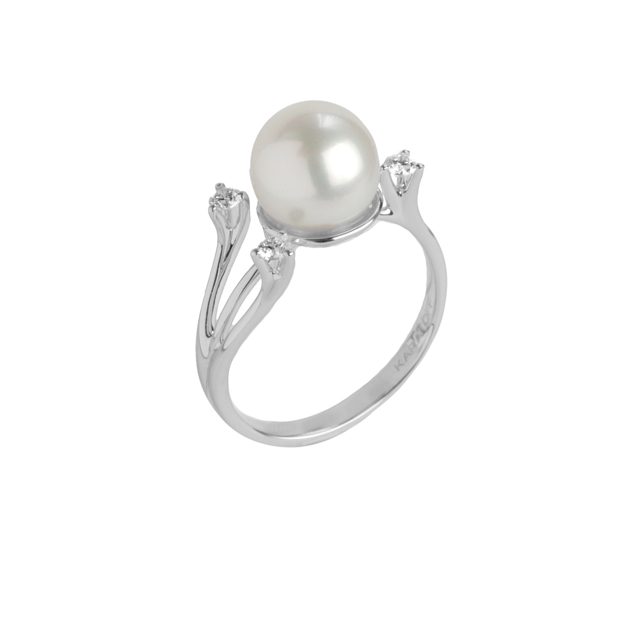 Pearl ring 18K white gold 1
