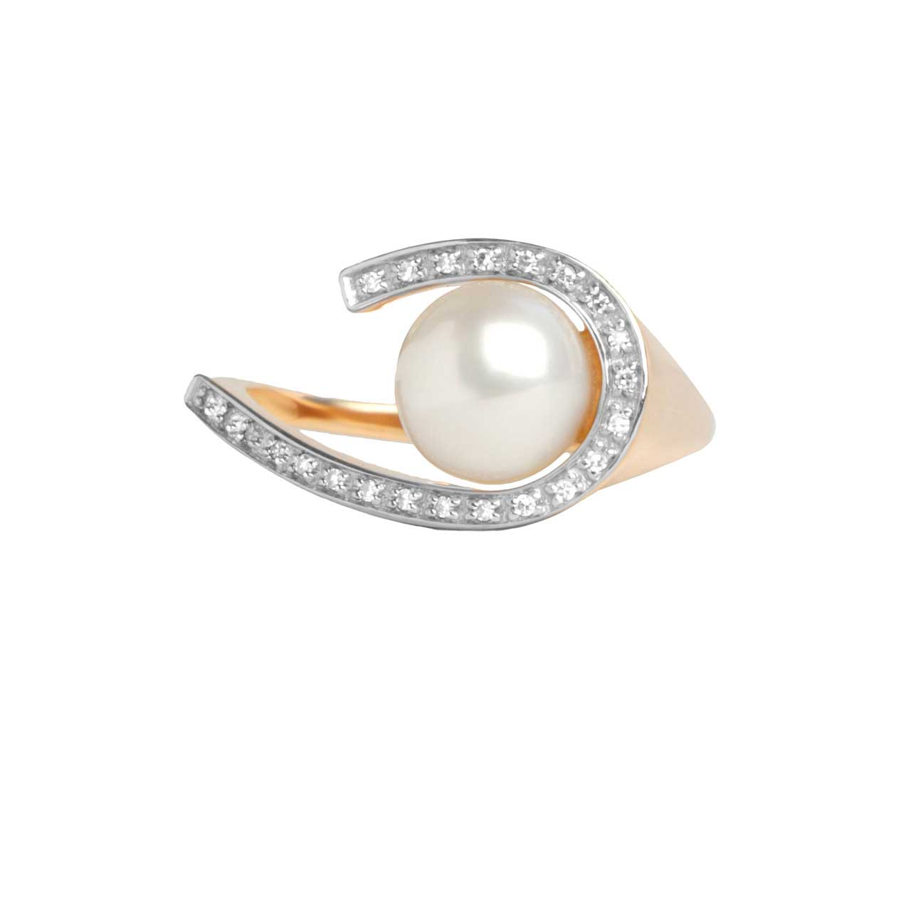 Pearl and Diamond Swirl Ring. View 3