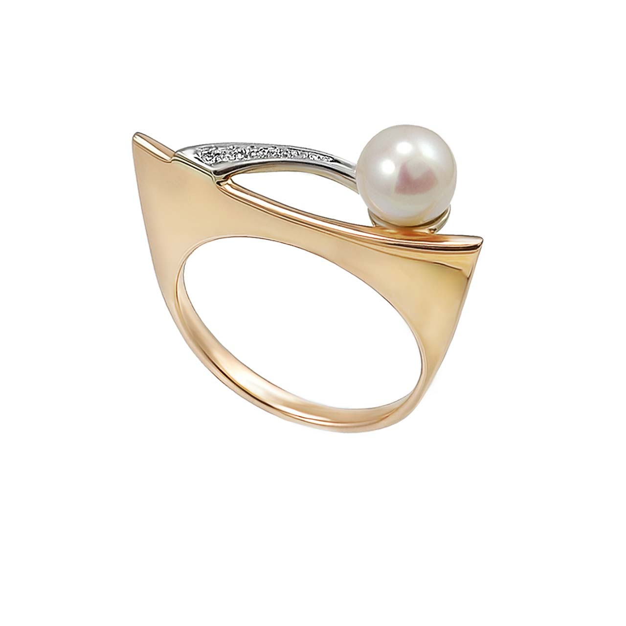 Gold pearl diamond ring 2