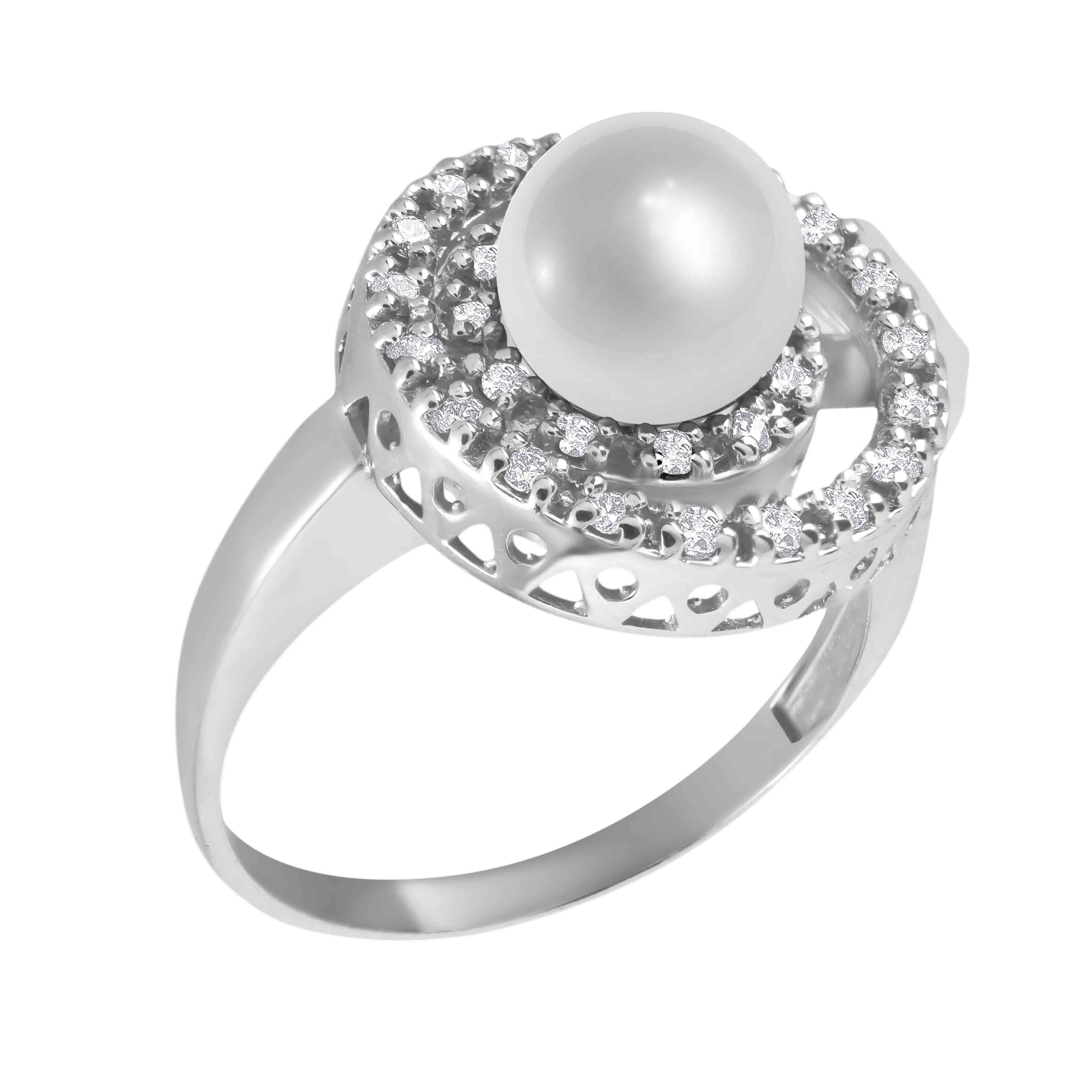 Pearl Diamond Double Circle Ring