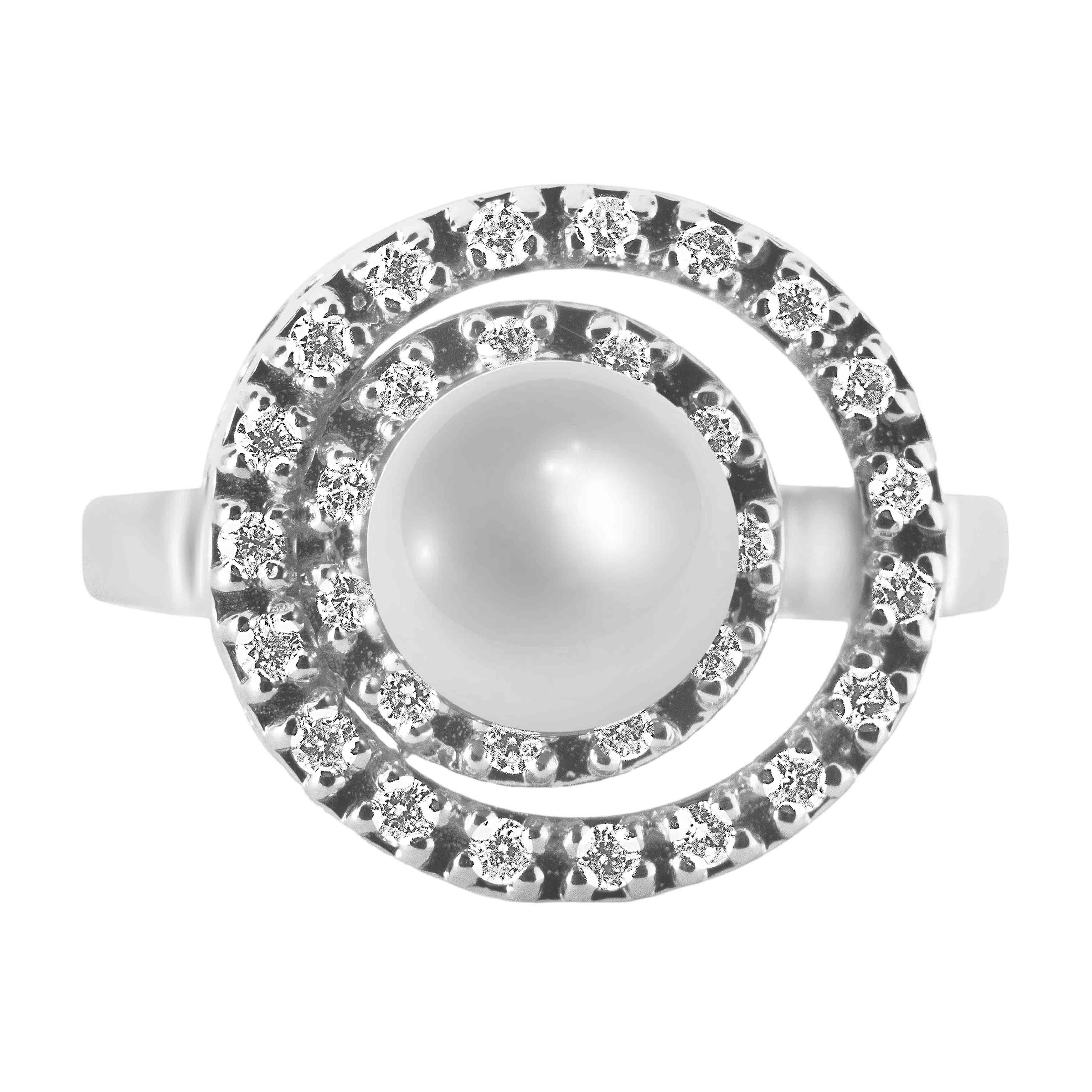Pearl Diamond Double Circle 14kt White Gold Ring. View 2