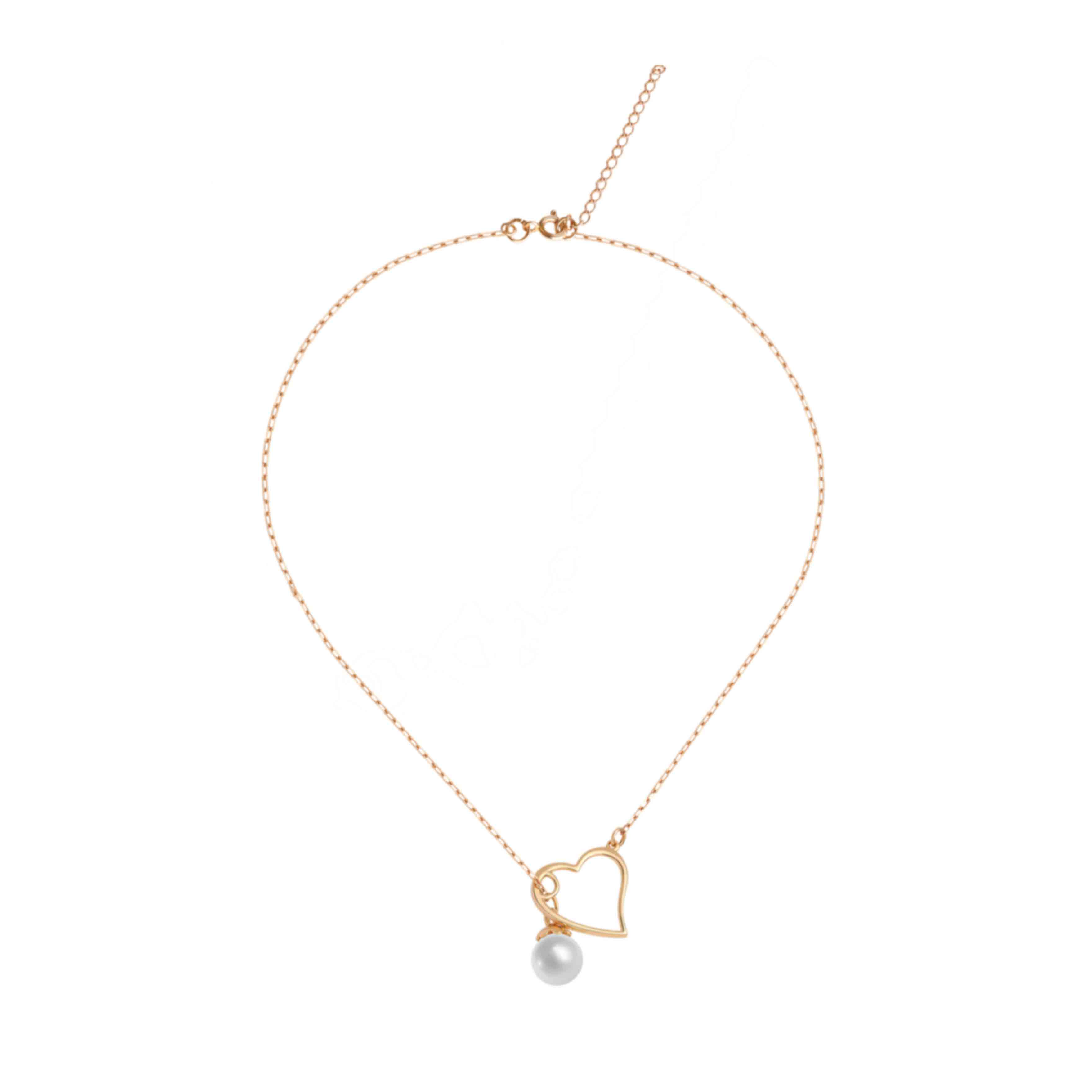 Pearl and Heart Adjustable Necklace
