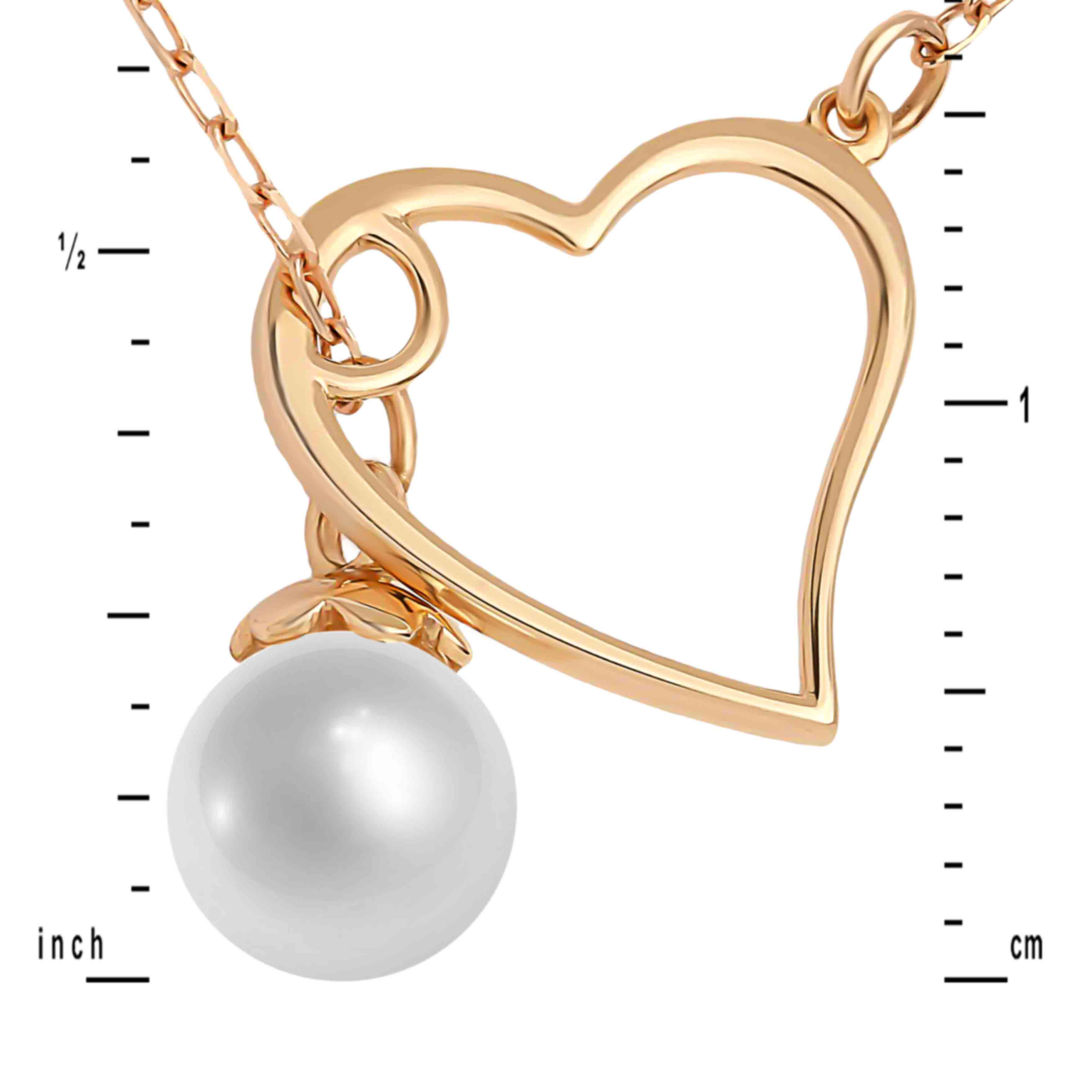 Pearl and Heart Adjustable Necklace. View 3