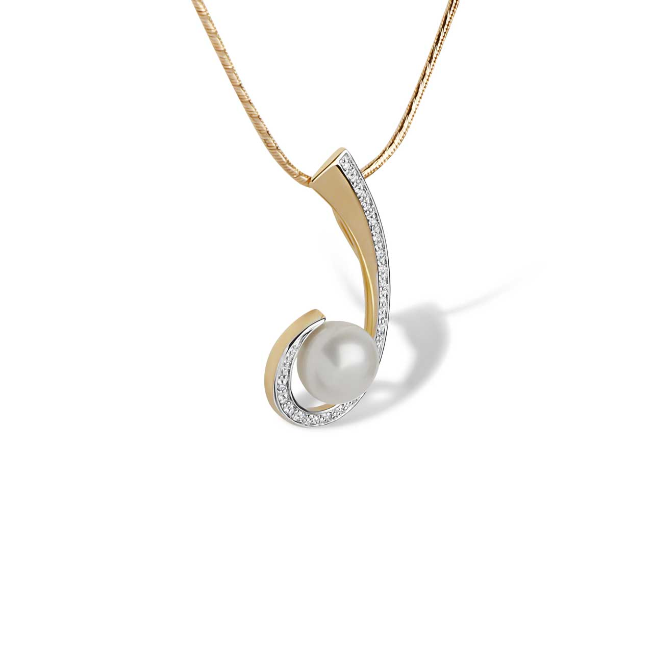 Pearl and Diamond Swirl Pendant. View 2