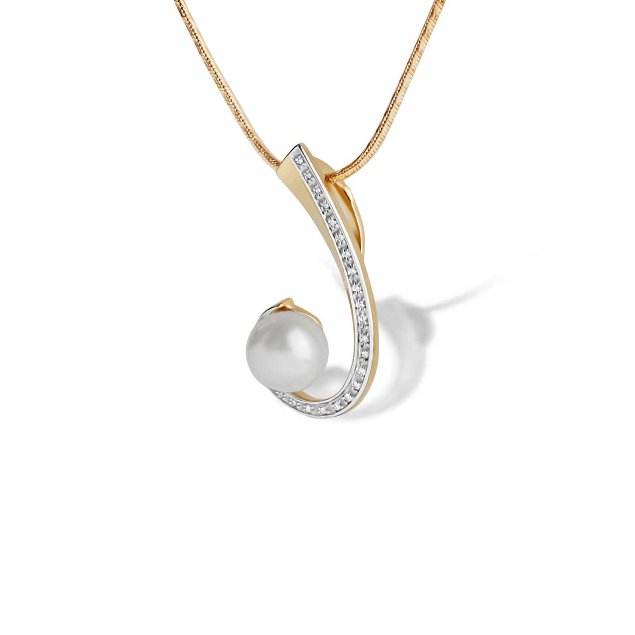 Pearl and Diamond Swirl Pendant. View 3