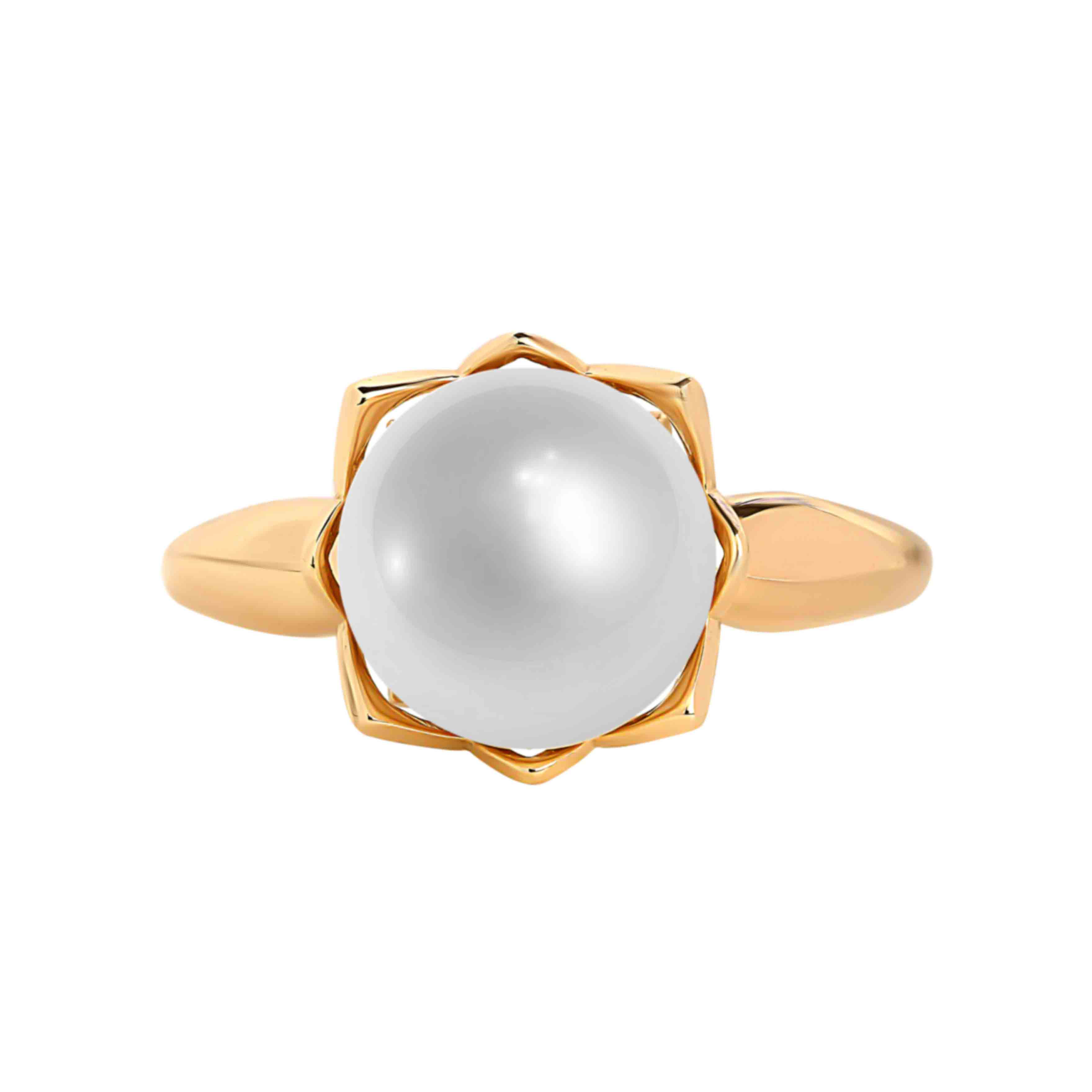 585 rose gold ring with 9mm pearl. View 2