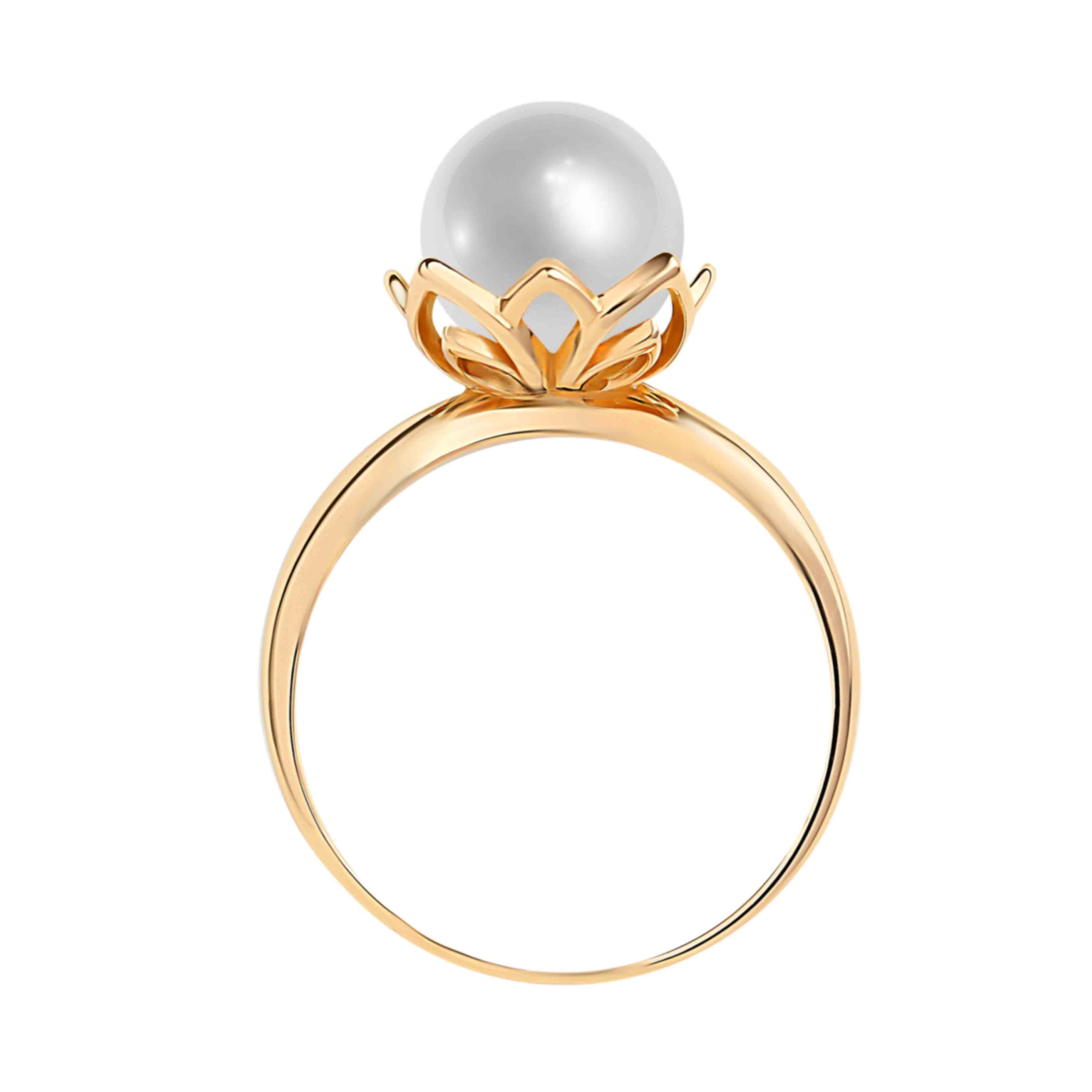 585 rose gold ring with 9mm pearl. View 3