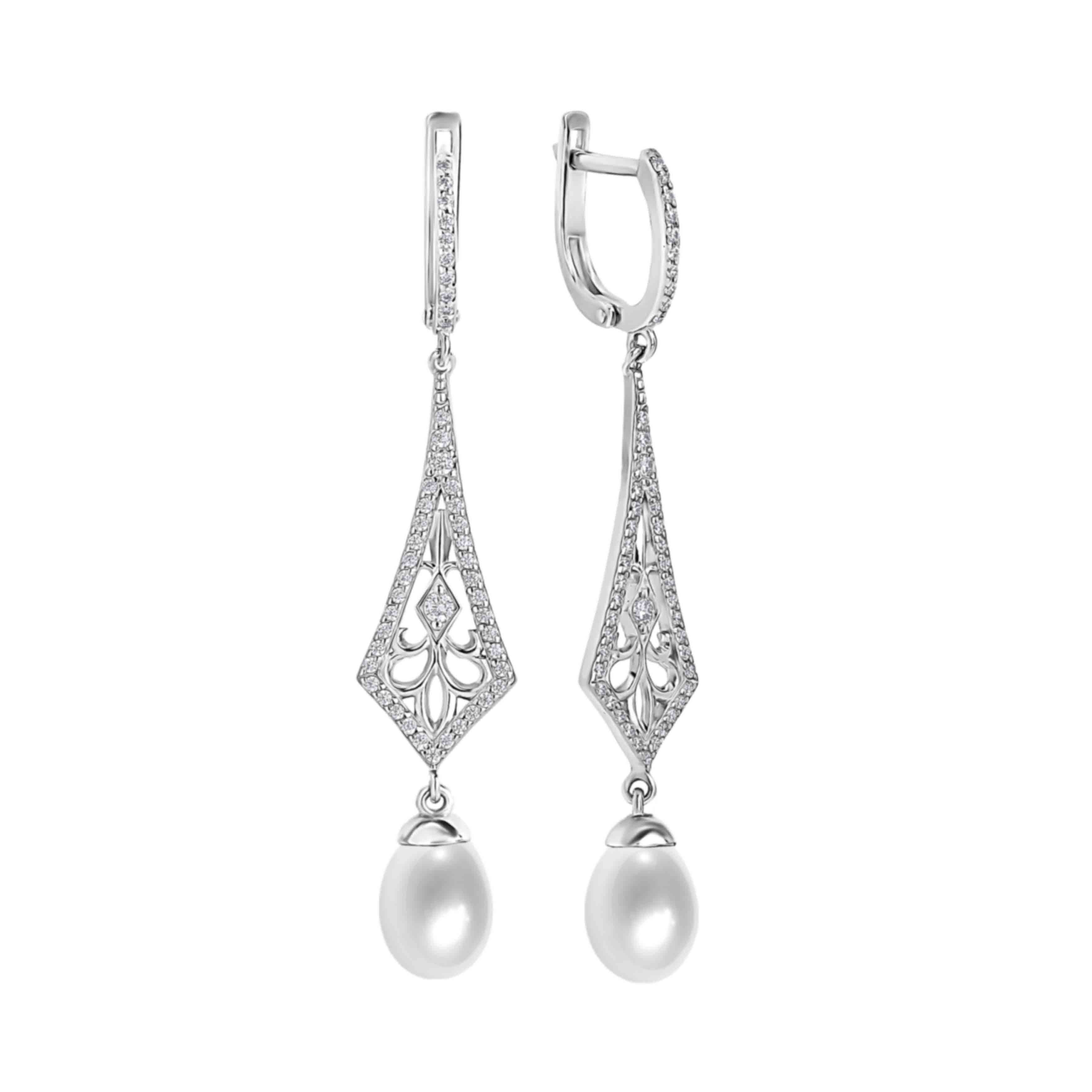Art Deco-inspired Pearl and CZ Earrings