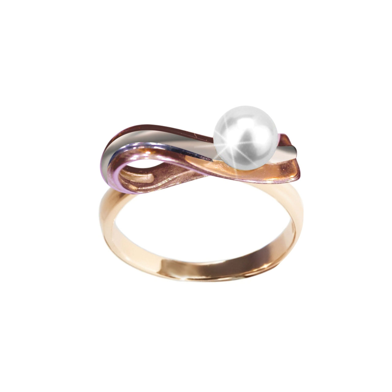 Rose And White Gold Pearl Ring