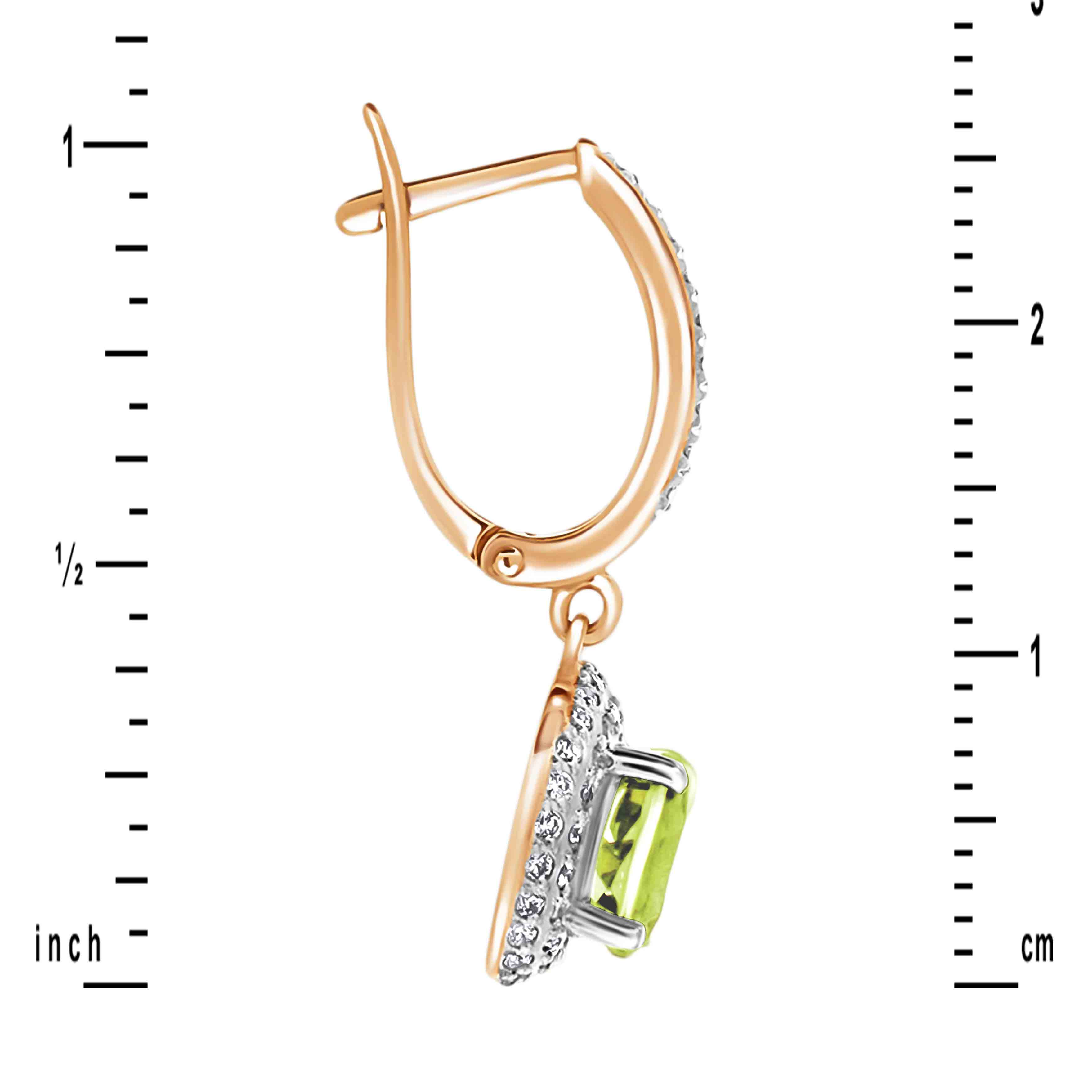 Gold Peridot Earrings Height. View 2