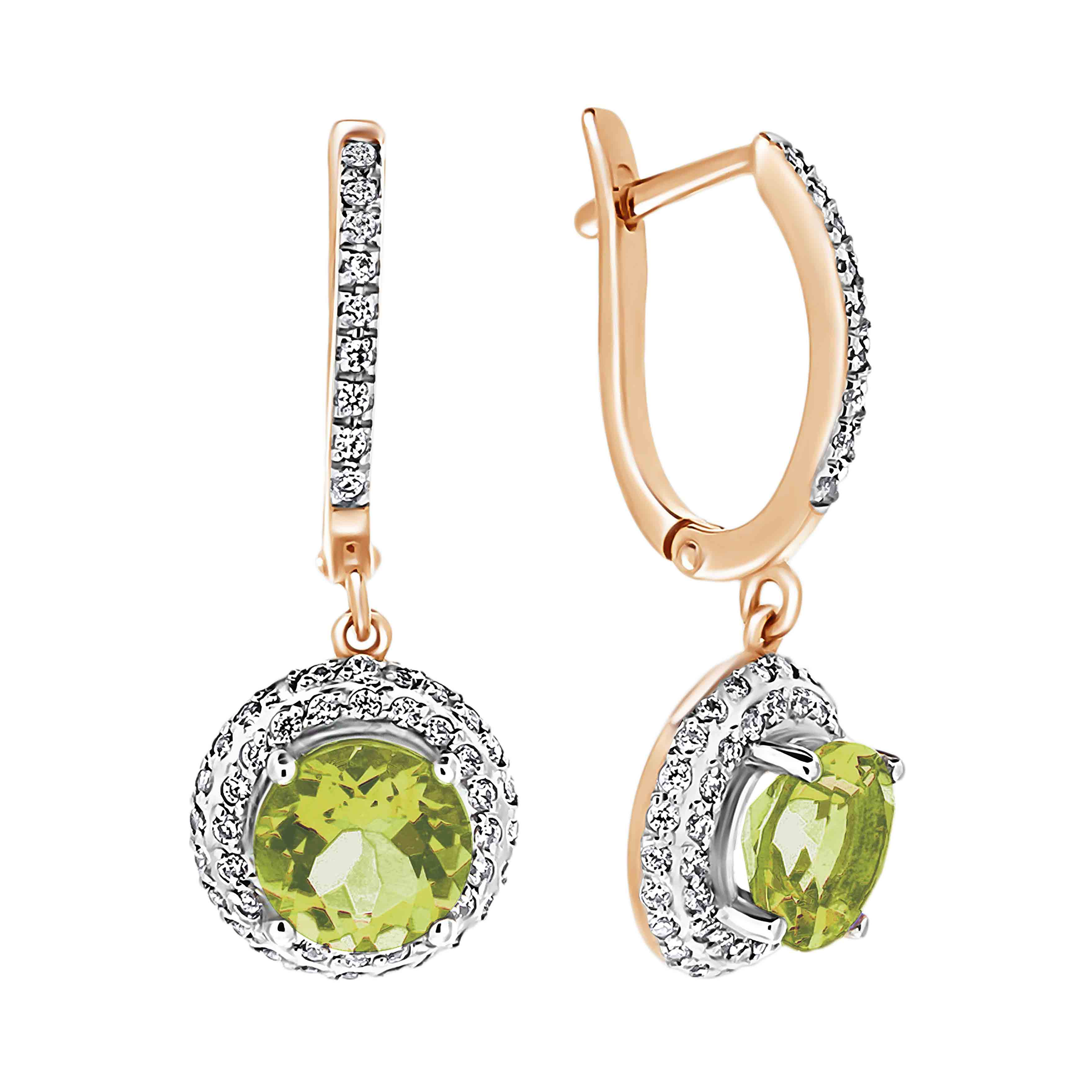 Peridot with Double Halo CZ Dangle Earrings