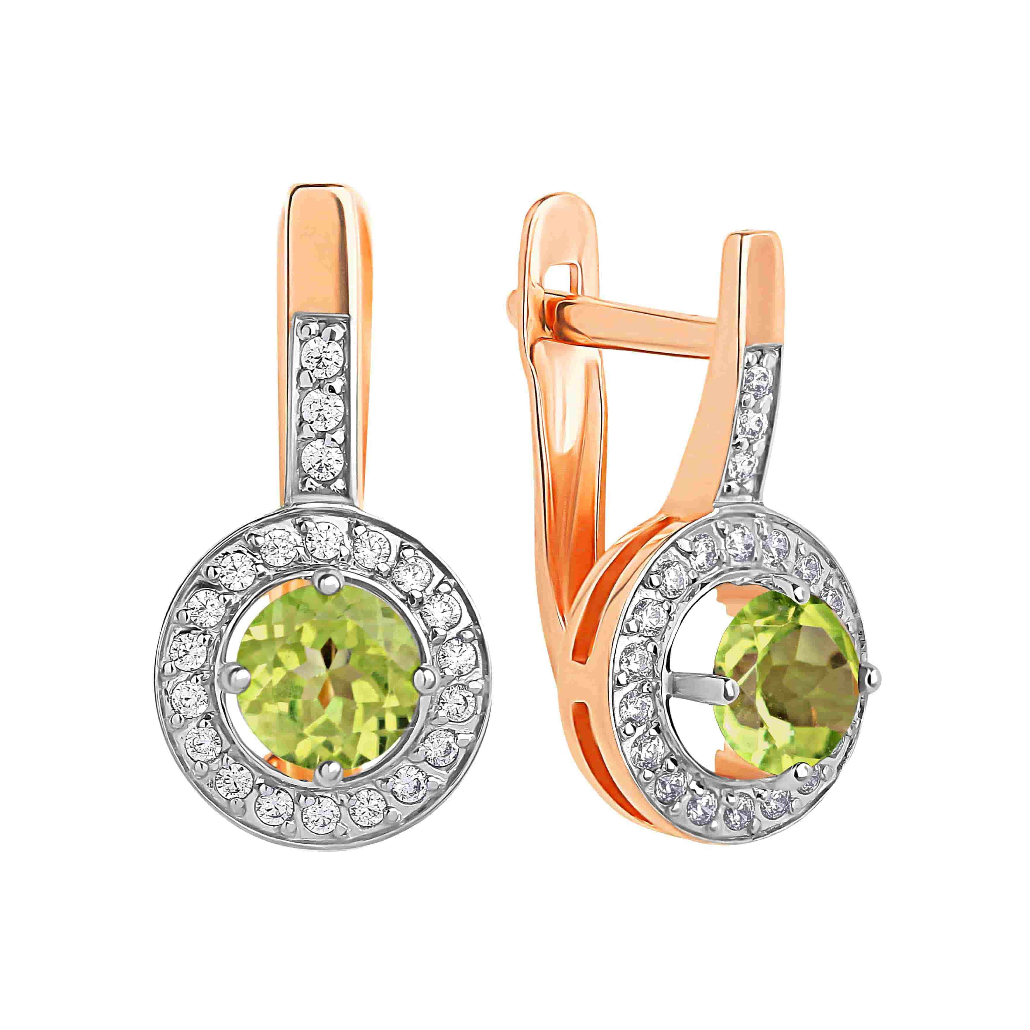 Peridot with CZ Halo Leverback Earrings