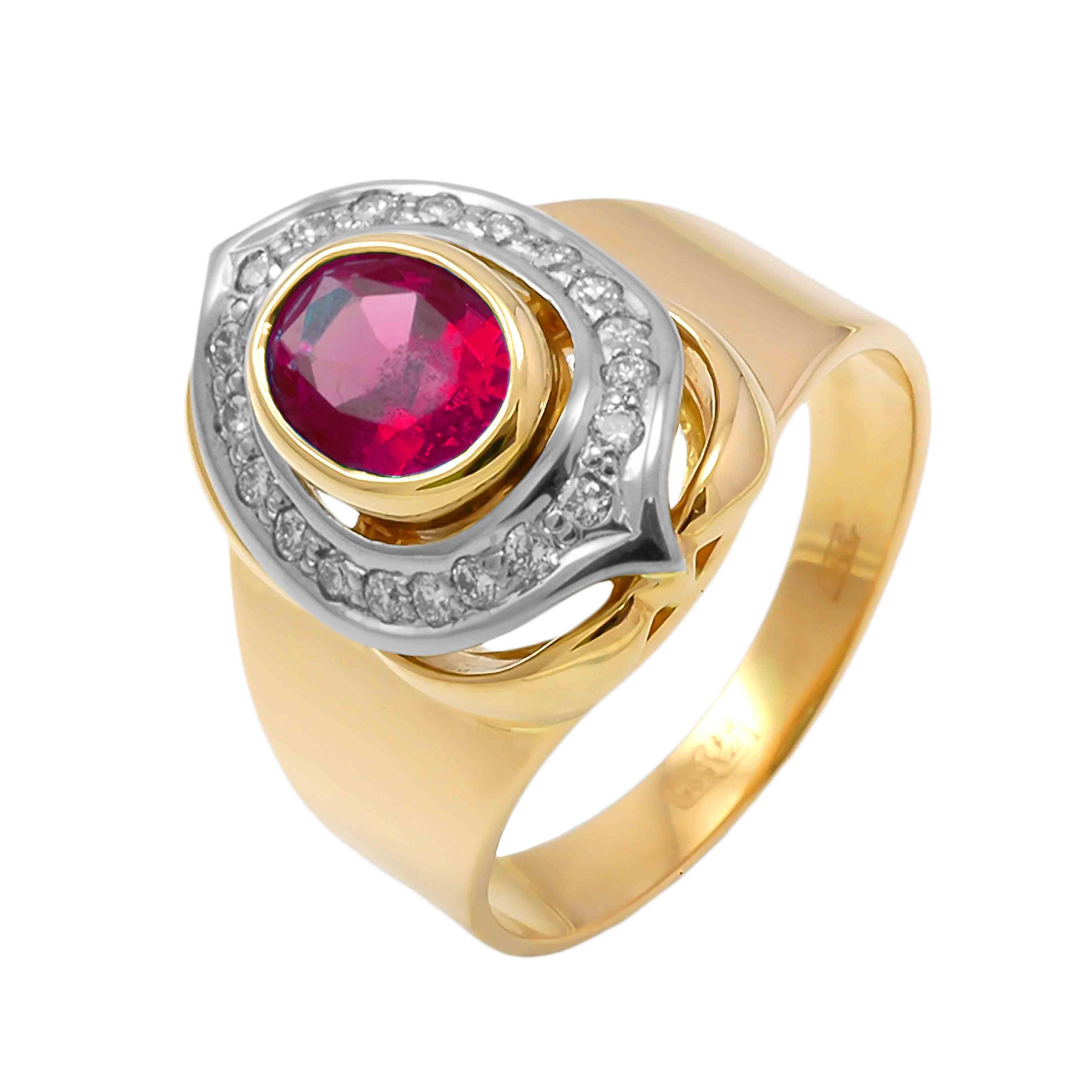 'Pigeon Blood' Ruby and Diamond 18K Gold Ring. view 2