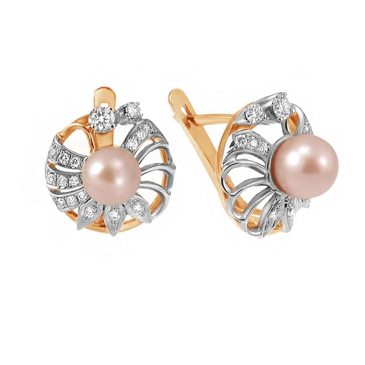 Pink pearl earrings on sale 1