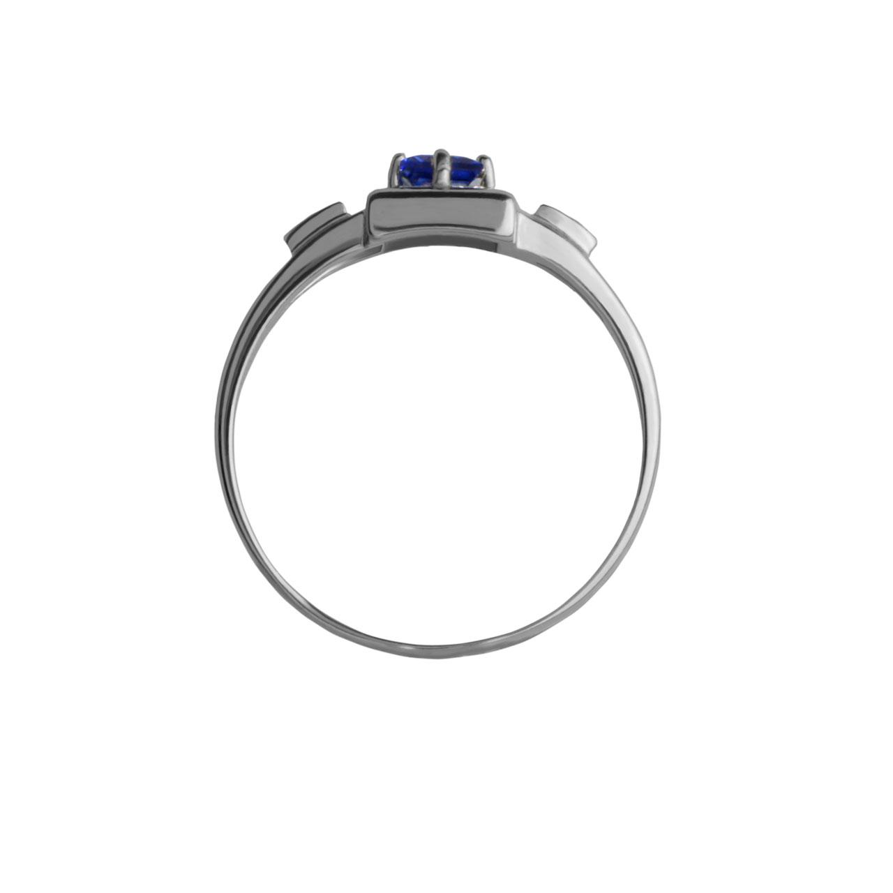 Geometric Sapphire and Diamond Ring. View 3