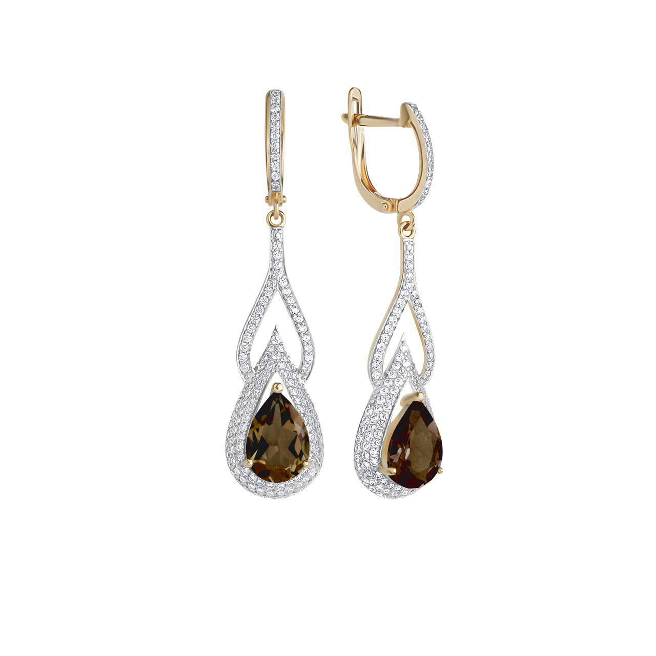 Teardrop Rauh Topaz and CZ Earrings