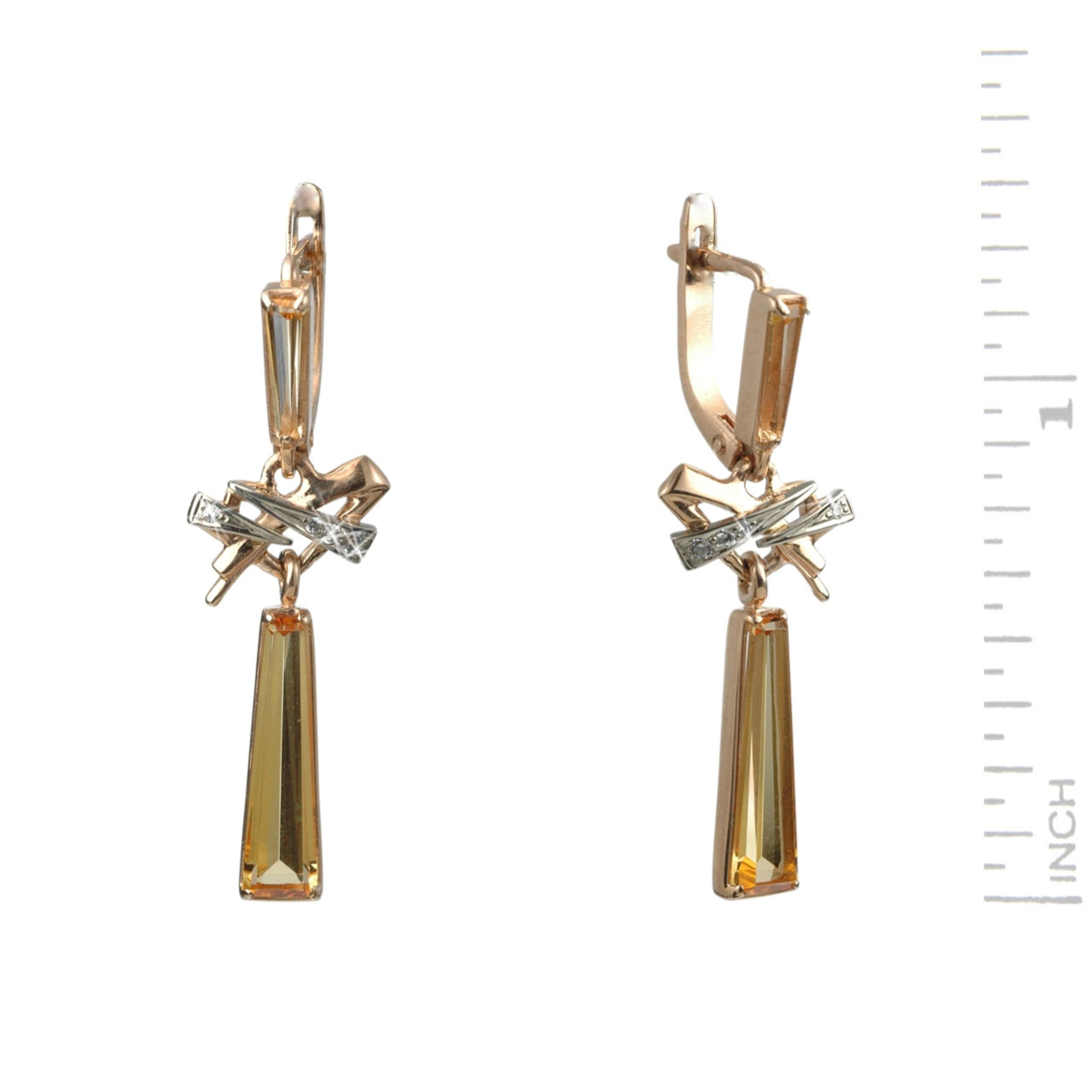 Rauh Topaz & CZ Dangle Earrings