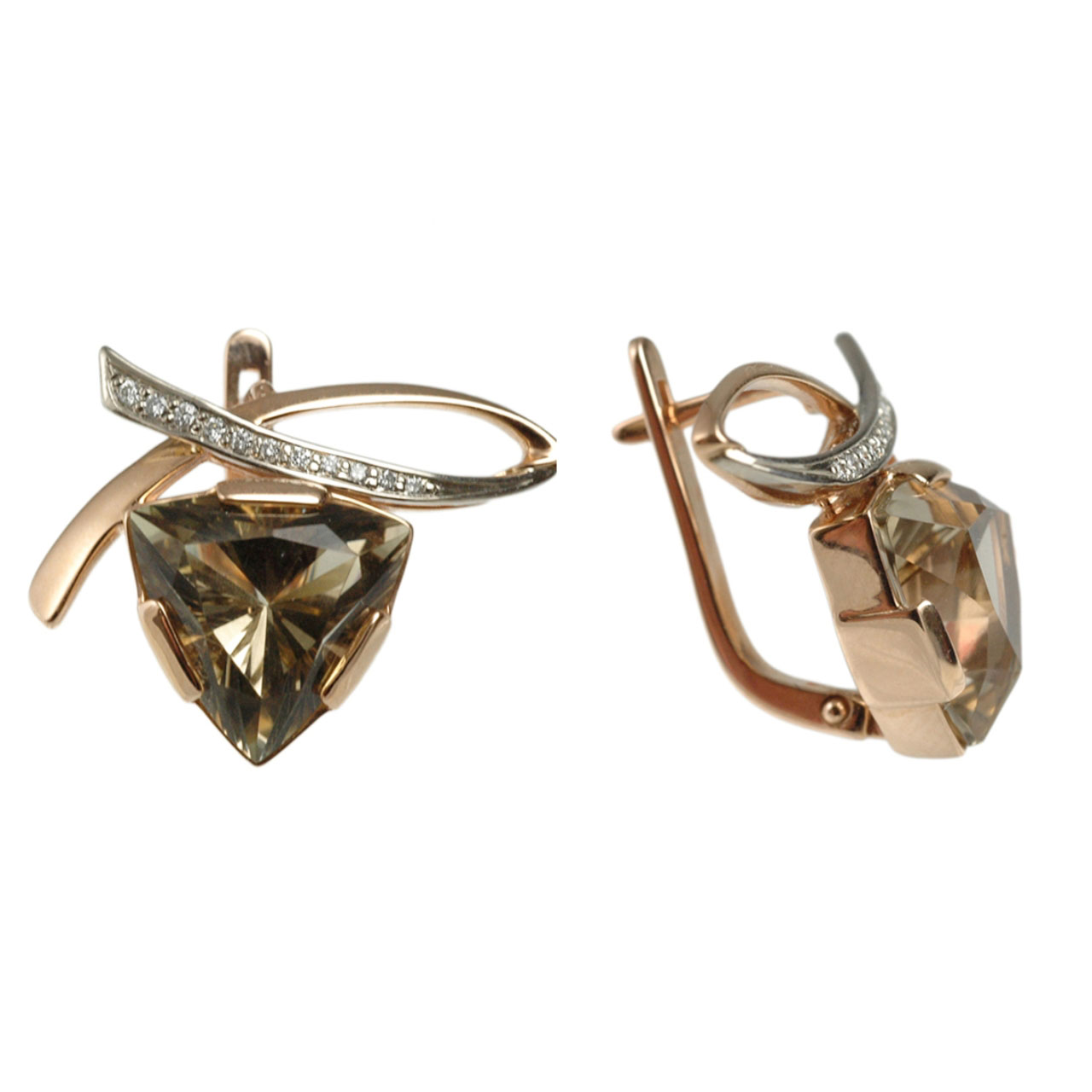 Triangular Rauh Topaz Diamond Earrings