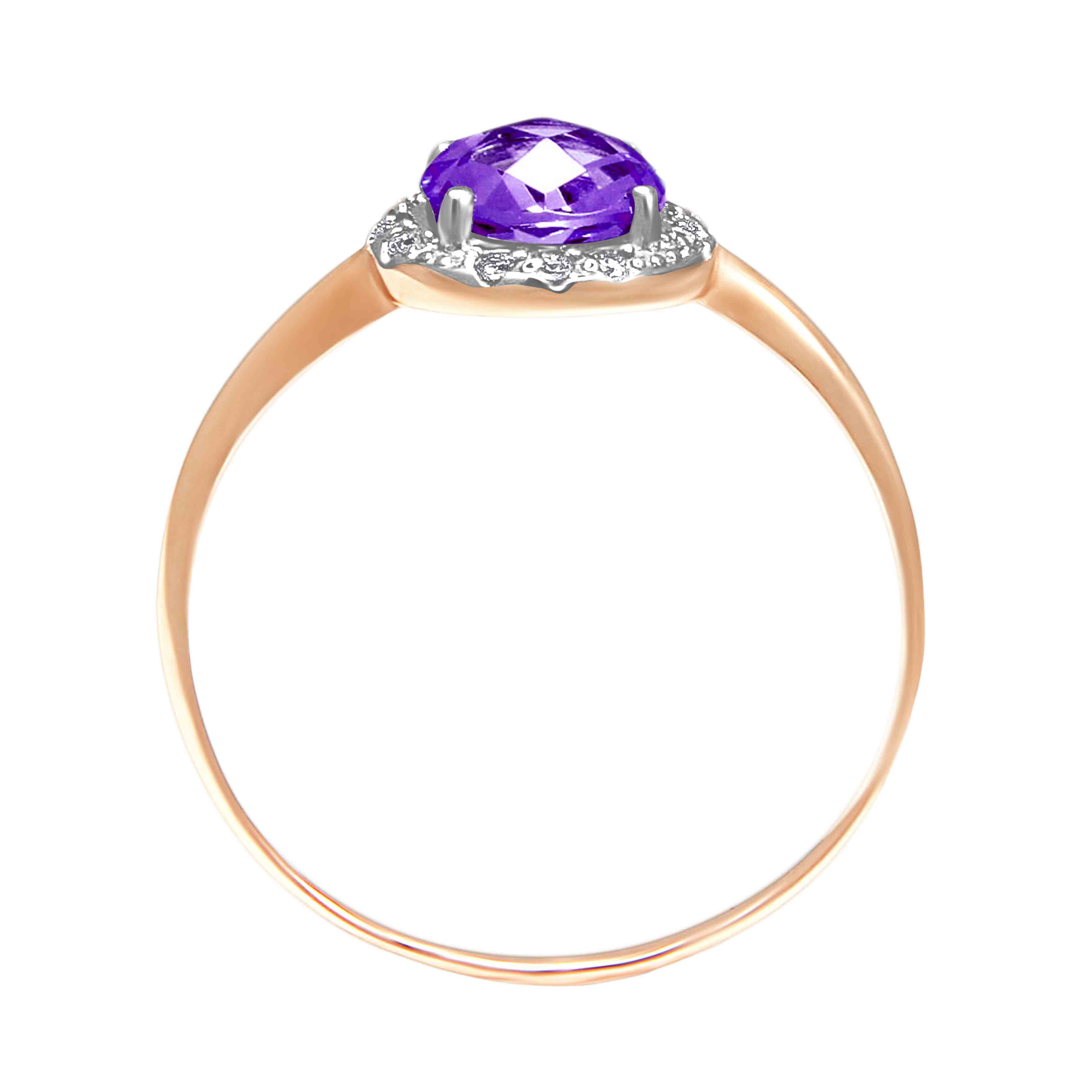 Rose-cut Amethyst with CZ Halo Ring. View 3