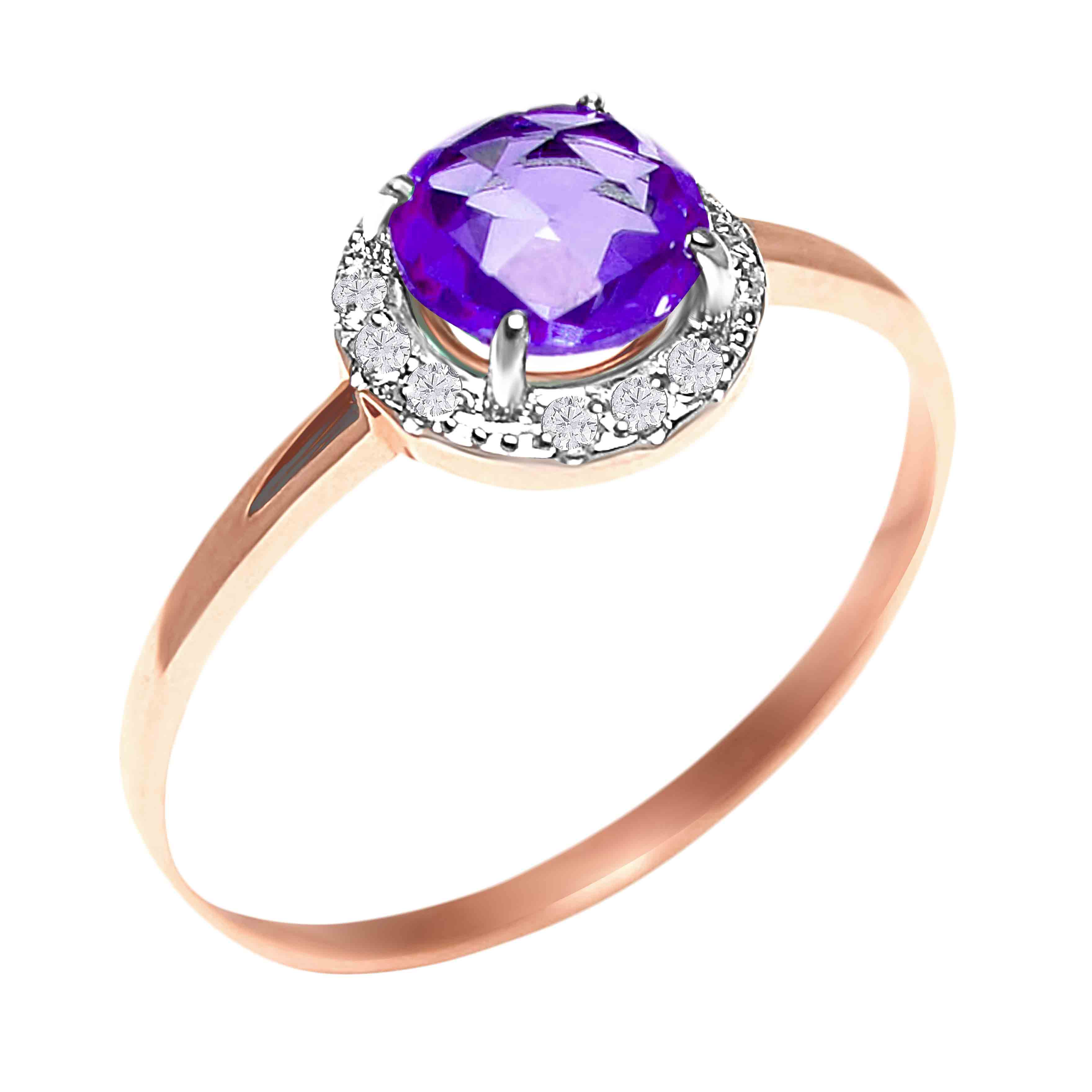 Rose-cut Amethyst with CZ Halo Ring