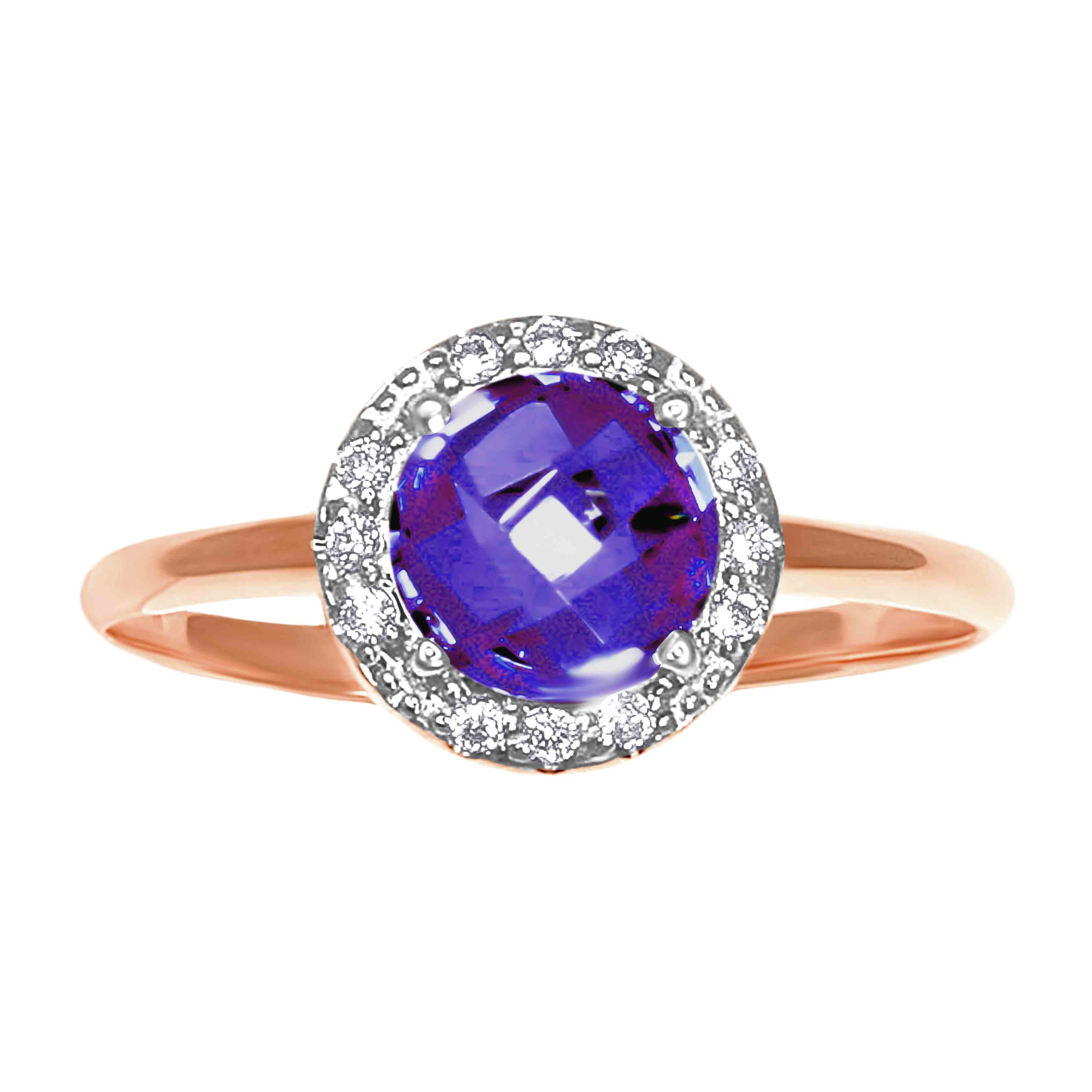 Rose-cut Amethyst with CZ Halo Ring. View 2