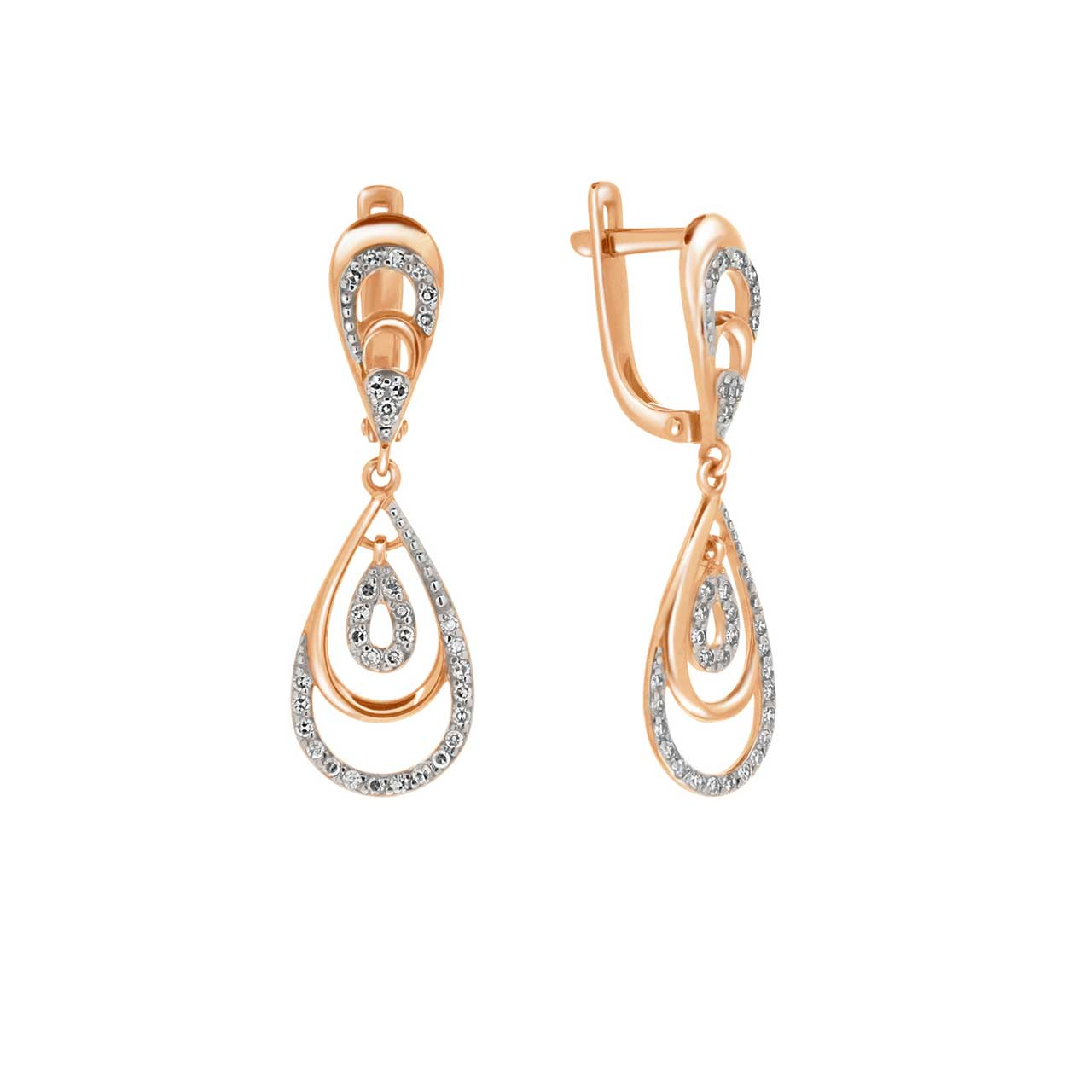 Diamond Teardrop Stacked-Link Earrings