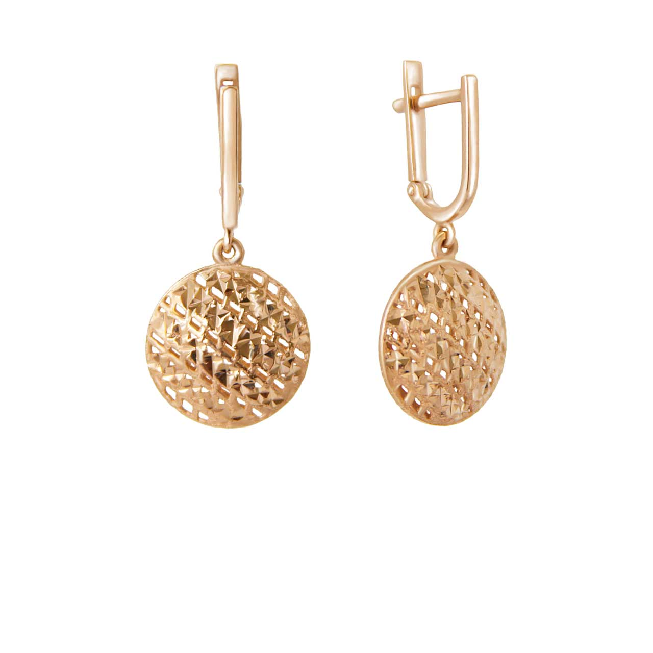 Diamond Cut Round Dangle Earrings