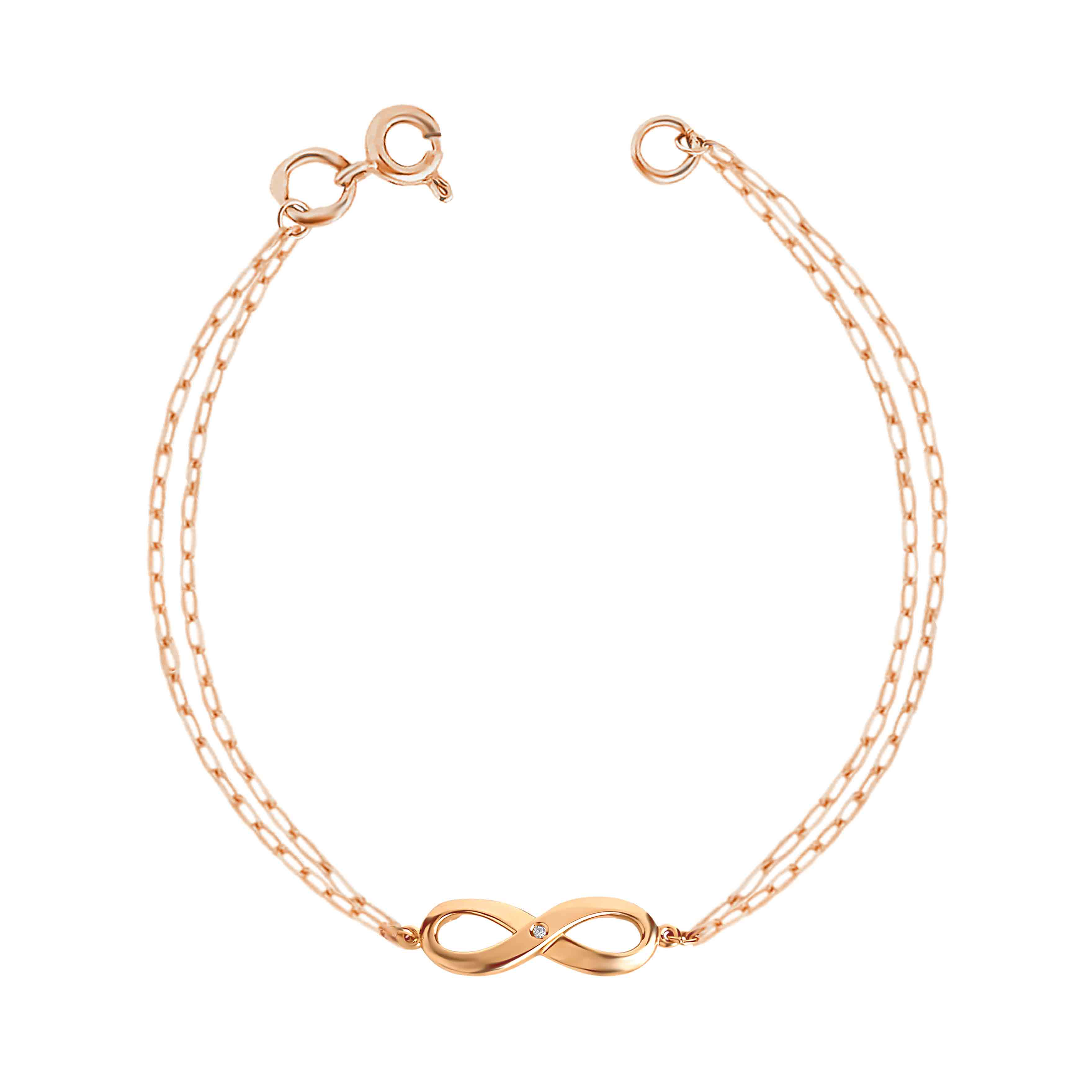 Diamond Infinity bracelet in 14kt rose gold. View 2