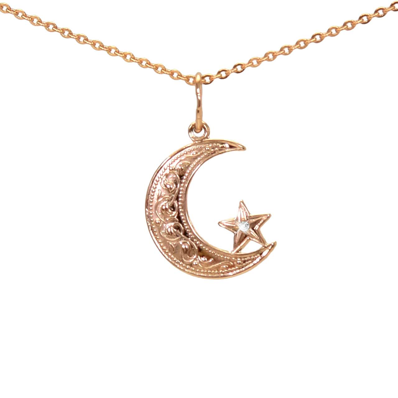 Floral Ornament Star and Crescent Pendant