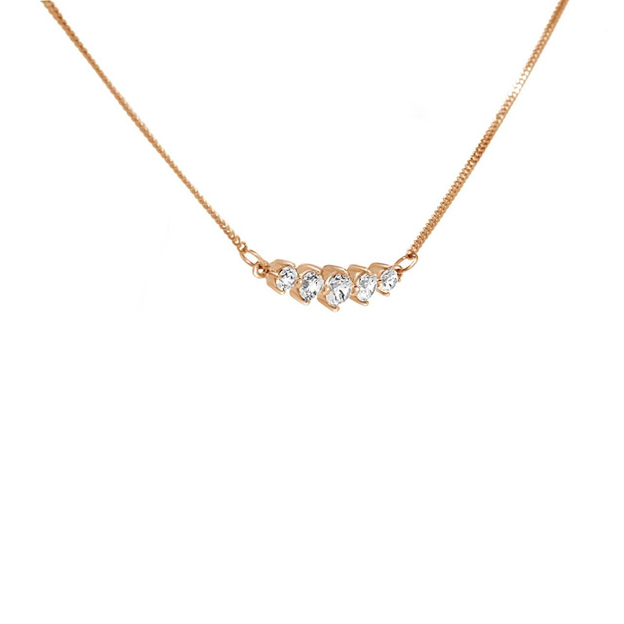 'Five Symbols of Joy' Necklace with CZ. View 2