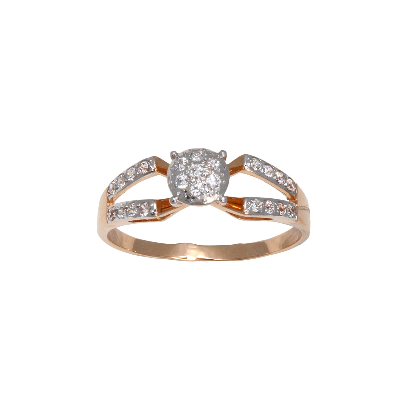 Double shank rose gold ring 2